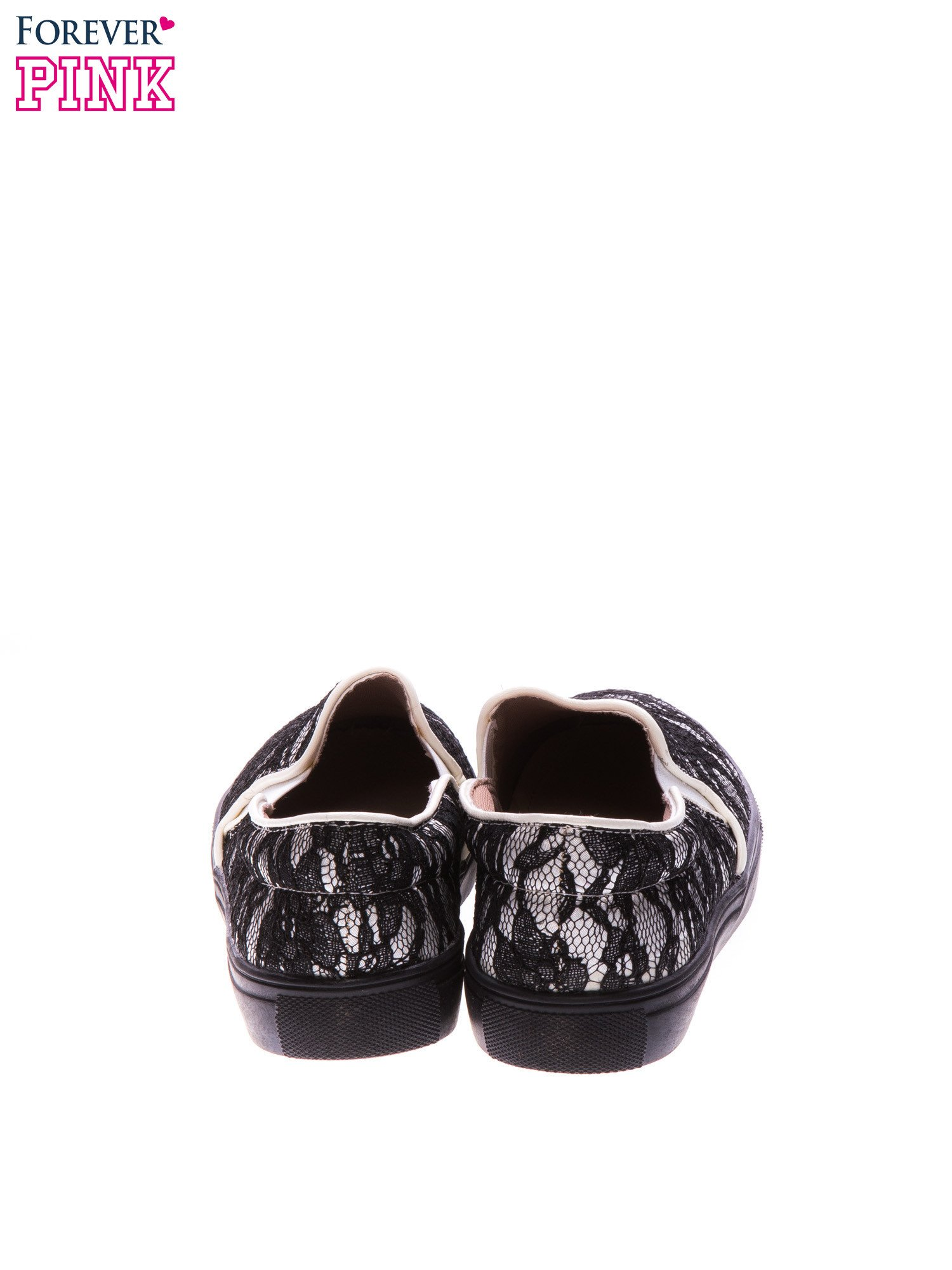 Białe koronkowe buty slip on                                  zdj.                                  3