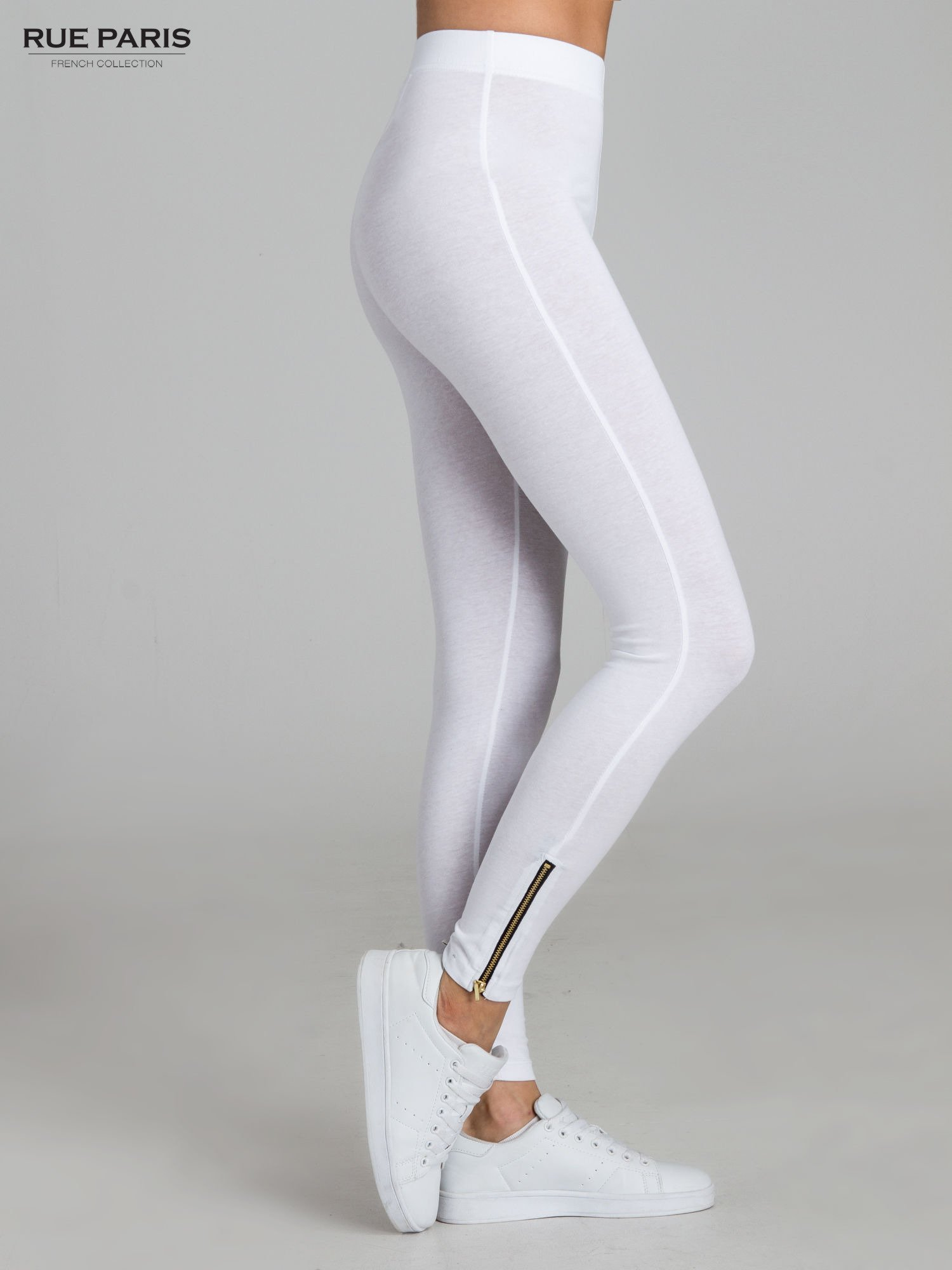 Białe legginsy ze złotym suwakiem na dole                                  zdj.                                  3