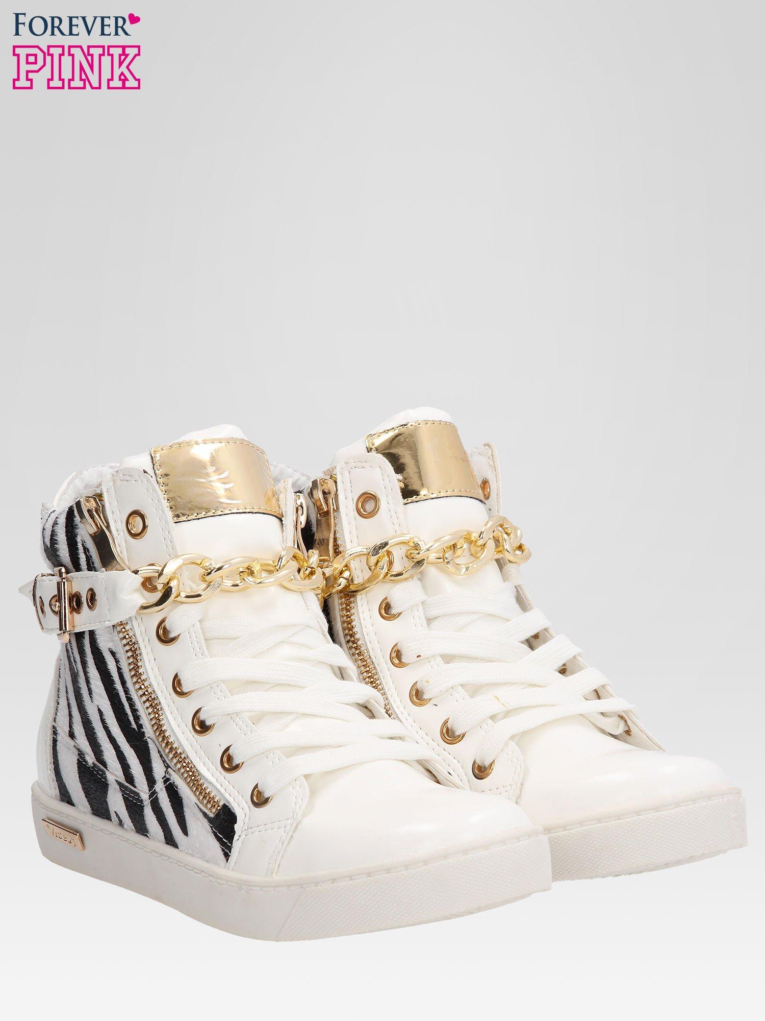 Białe sneakersy damskie z motywem zebry                                  zdj.                                  2