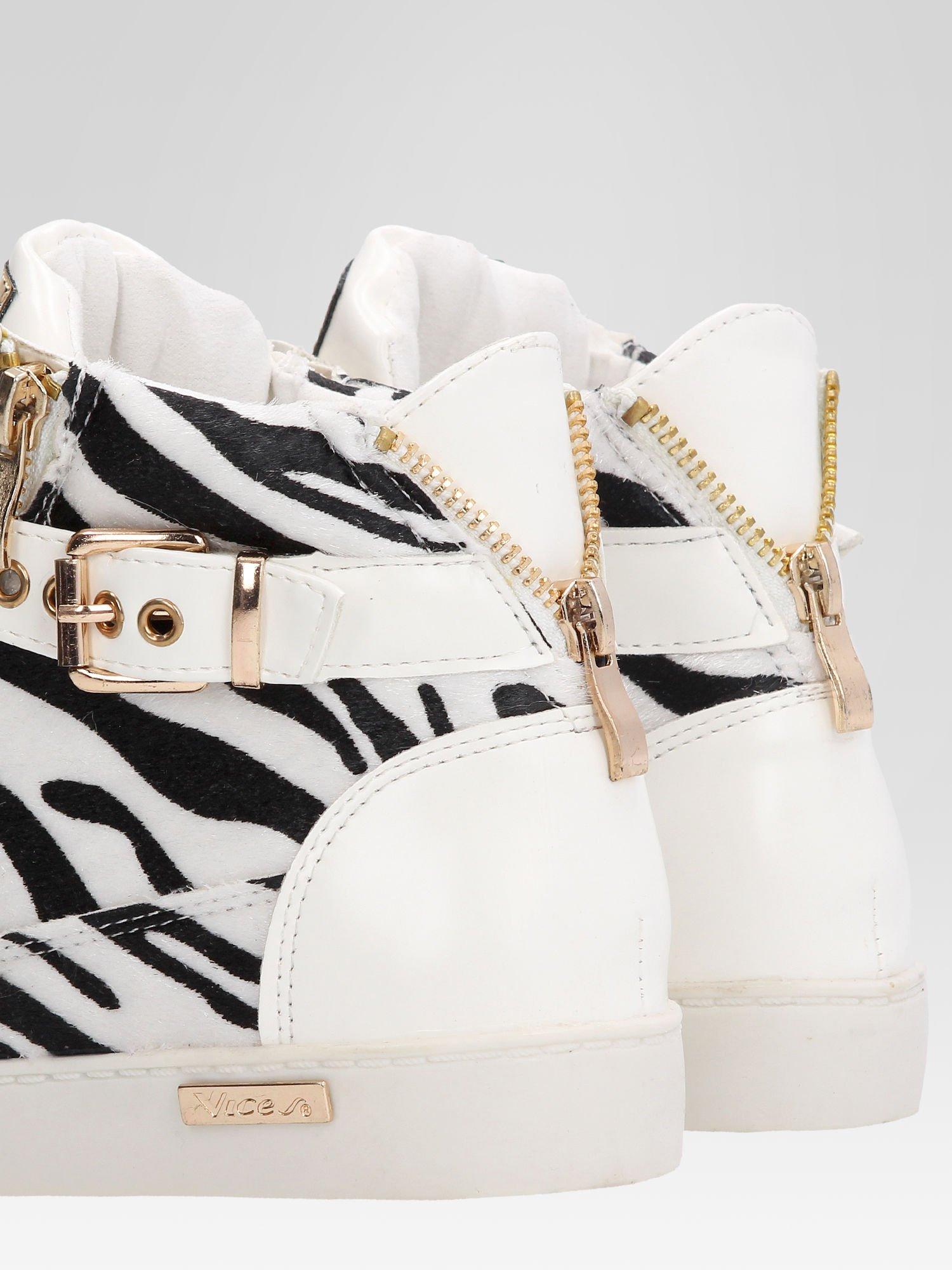 Białe sneakersy damskie z motywem zebry                                  zdj.                                  7