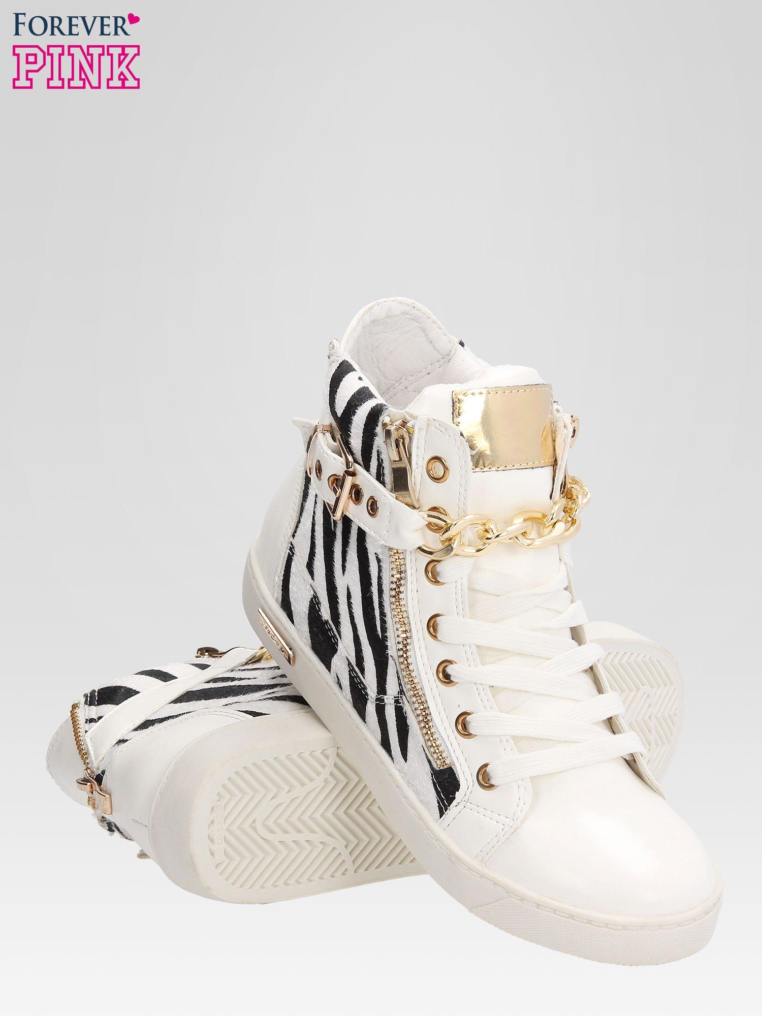 Białe sneakersy damskie z motywem zebry                                  zdj.                                  4