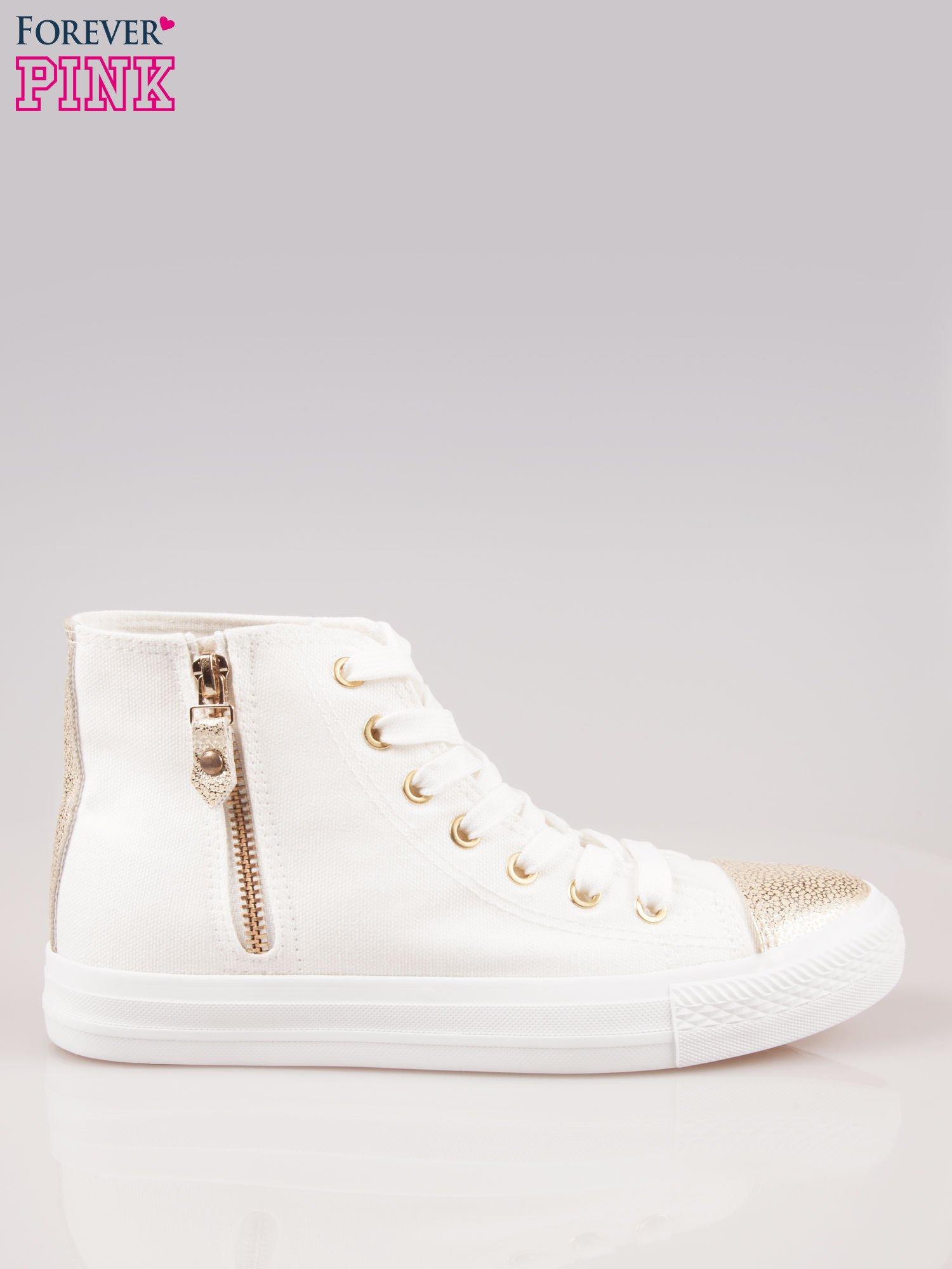 Białe sneakersy gold cap toe z suwakiem z boku                                  zdj.                                  1