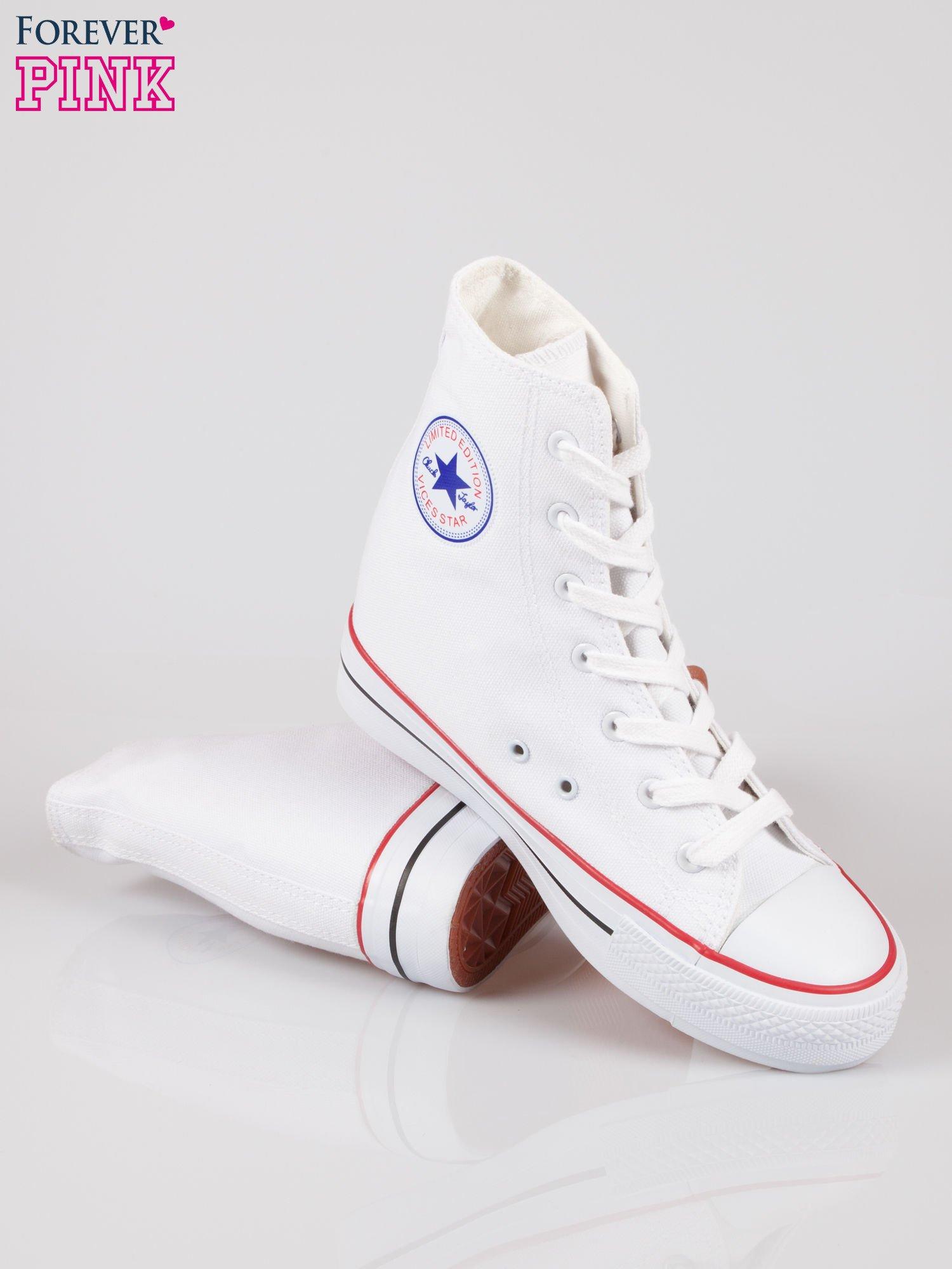 Białe sneakersy trampki damskie na koturnie                                  zdj.                                  4