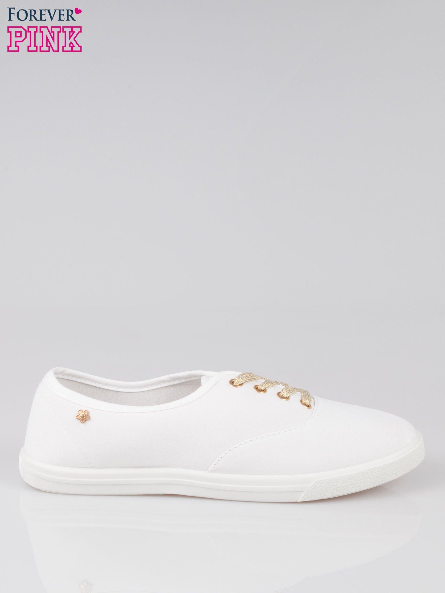 Białe tenisówki ze złotymi sznurowadłami Malibu                                  zdj.                                  1