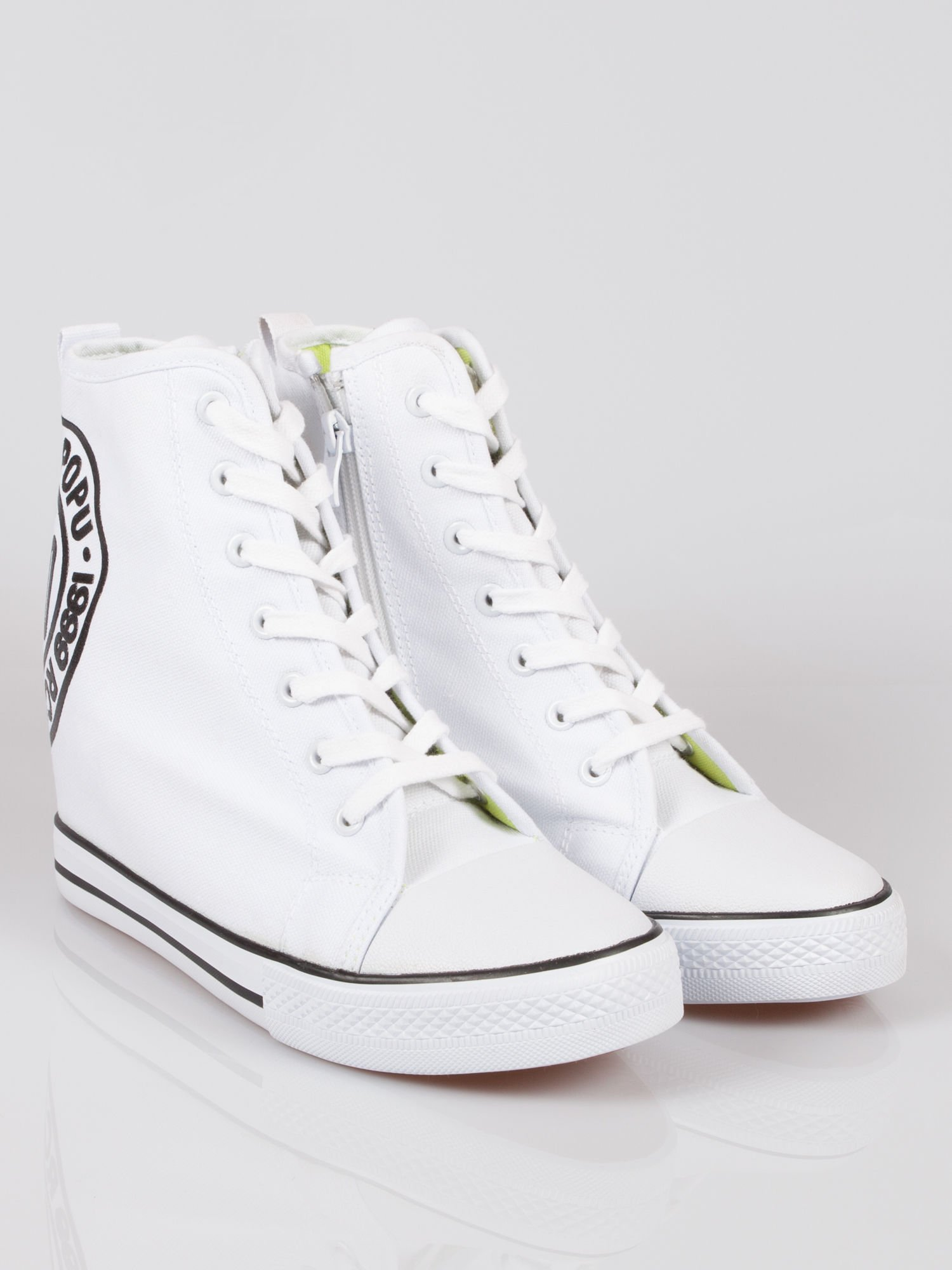 359ef740 Białe trampki na koturnie sneakersy z logo Joann - Buty Sneakersy ...
