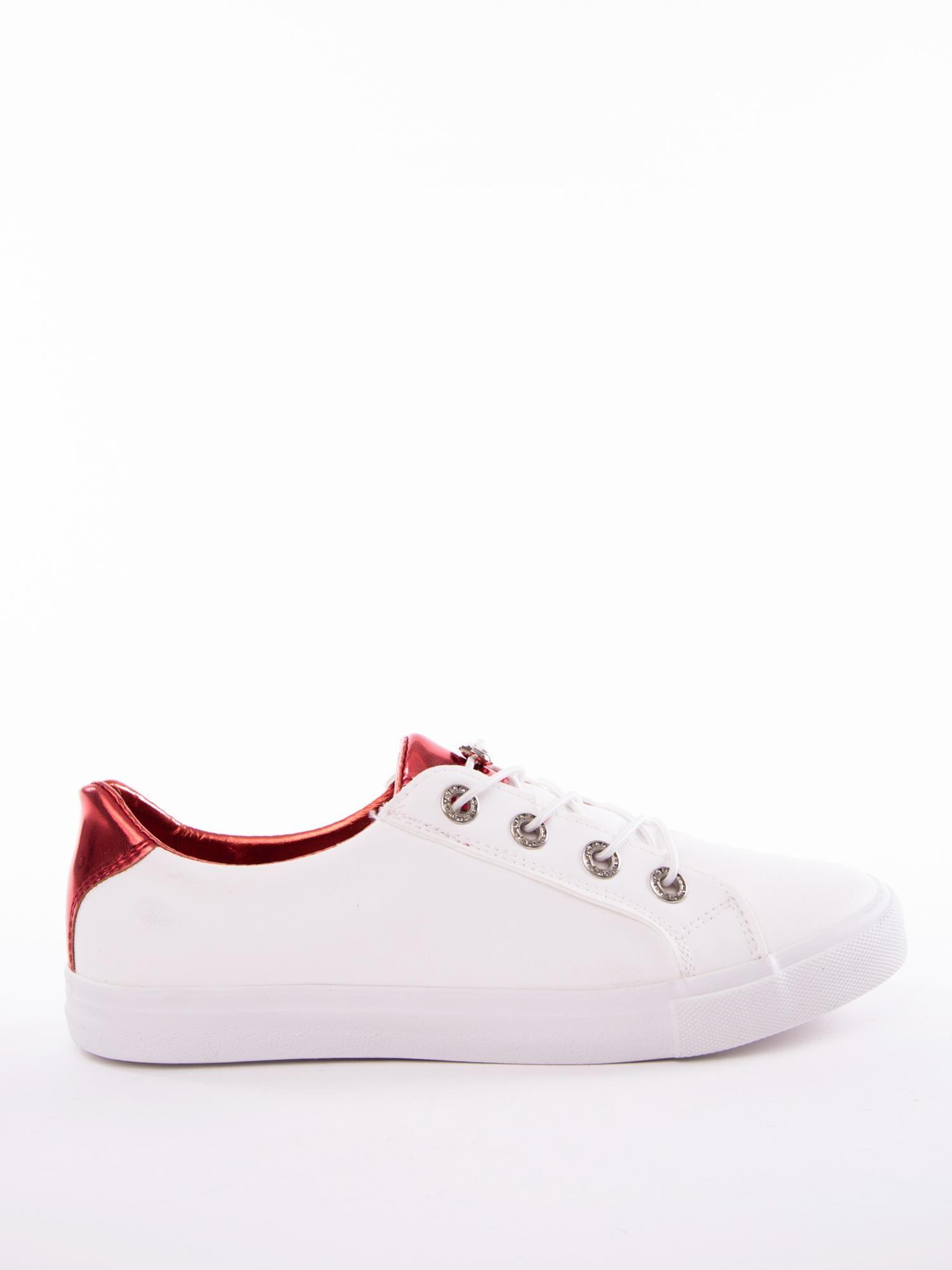 18379fc5ad5d Białe trampki z lustrzaną czerwoną wstawką na pięcie - Buty Trampki ...