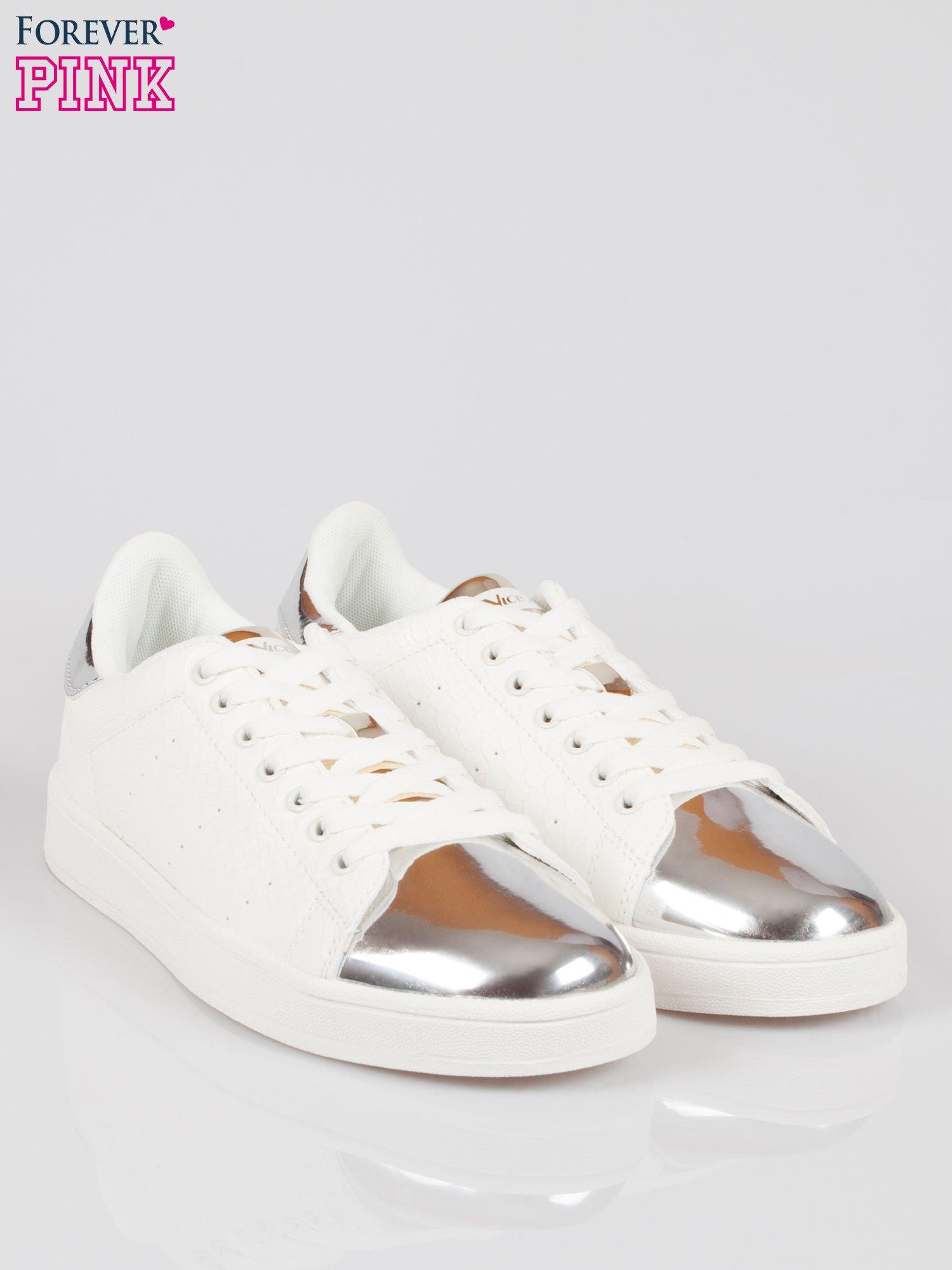 Białe wężowe buty sportowe silver cap toe                                  zdj.                                  2