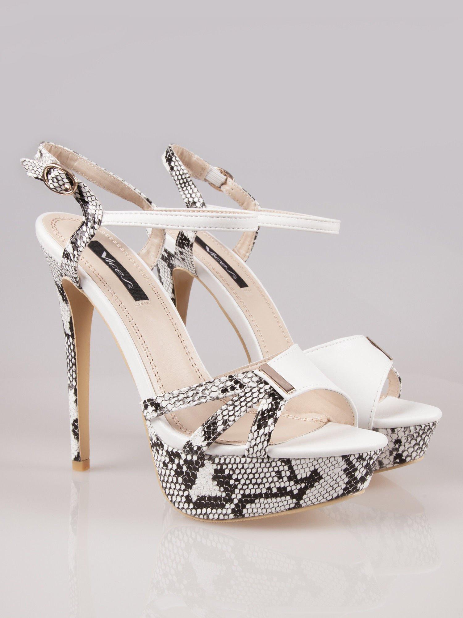 Białe wężowe sandały na szpilce zapinane na kostce Amber                                  zdj.                                  2