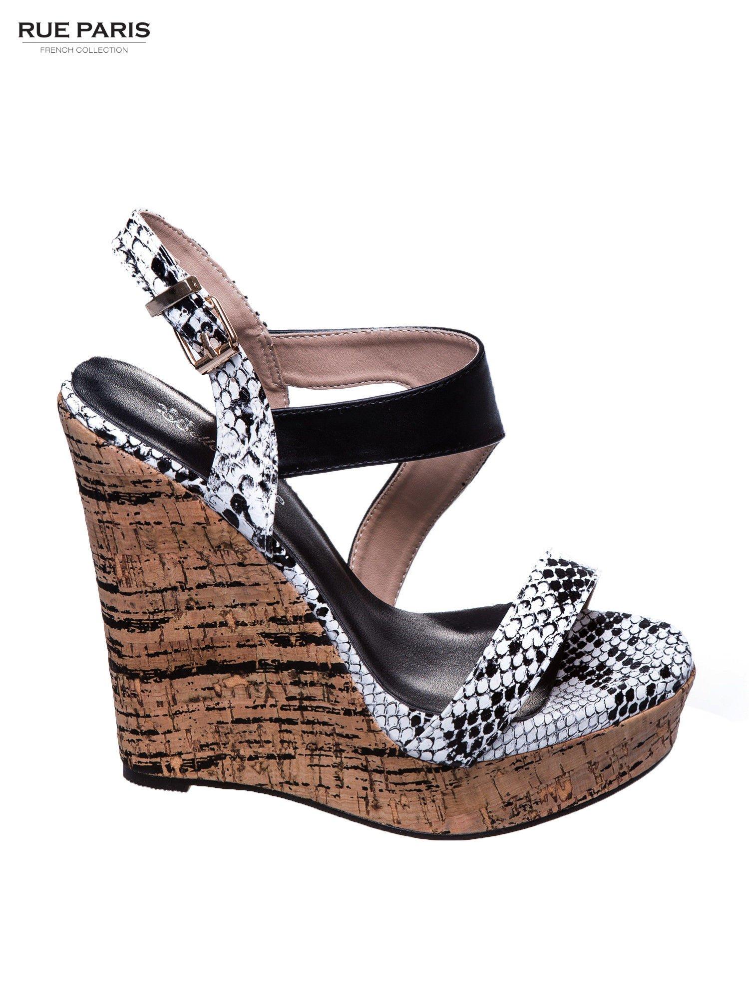 Białe wężowe sandały z paskami na korkowym koturnie                                  zdj.                                  1