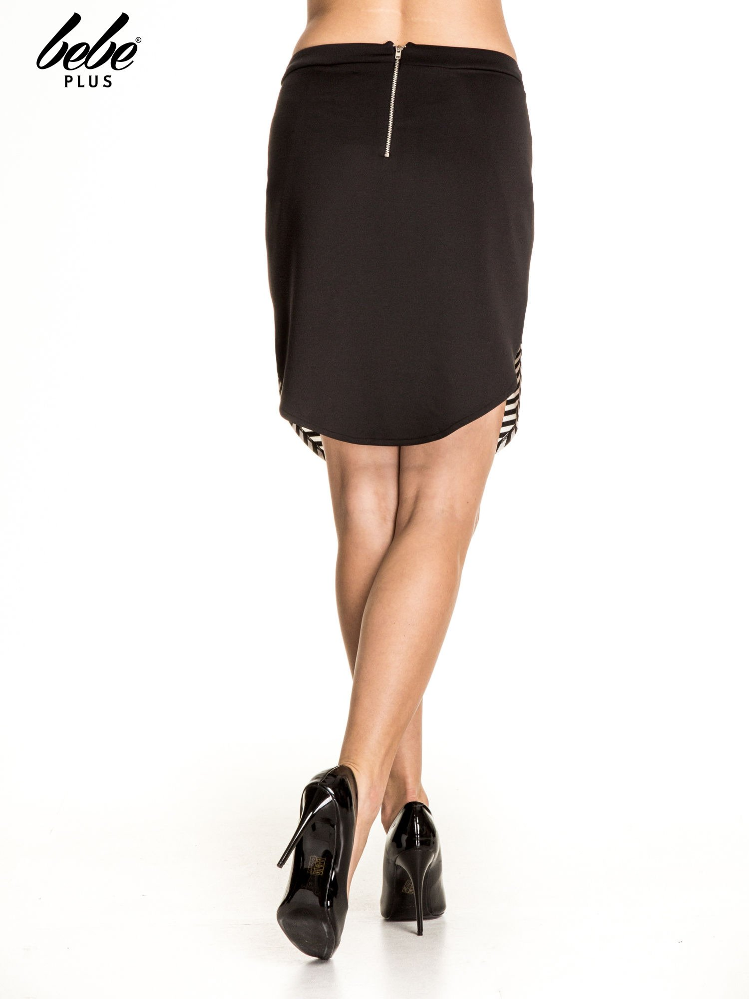 Biało-czarna dwuczęściowa spódnica w paski                                  zdj.                                  4