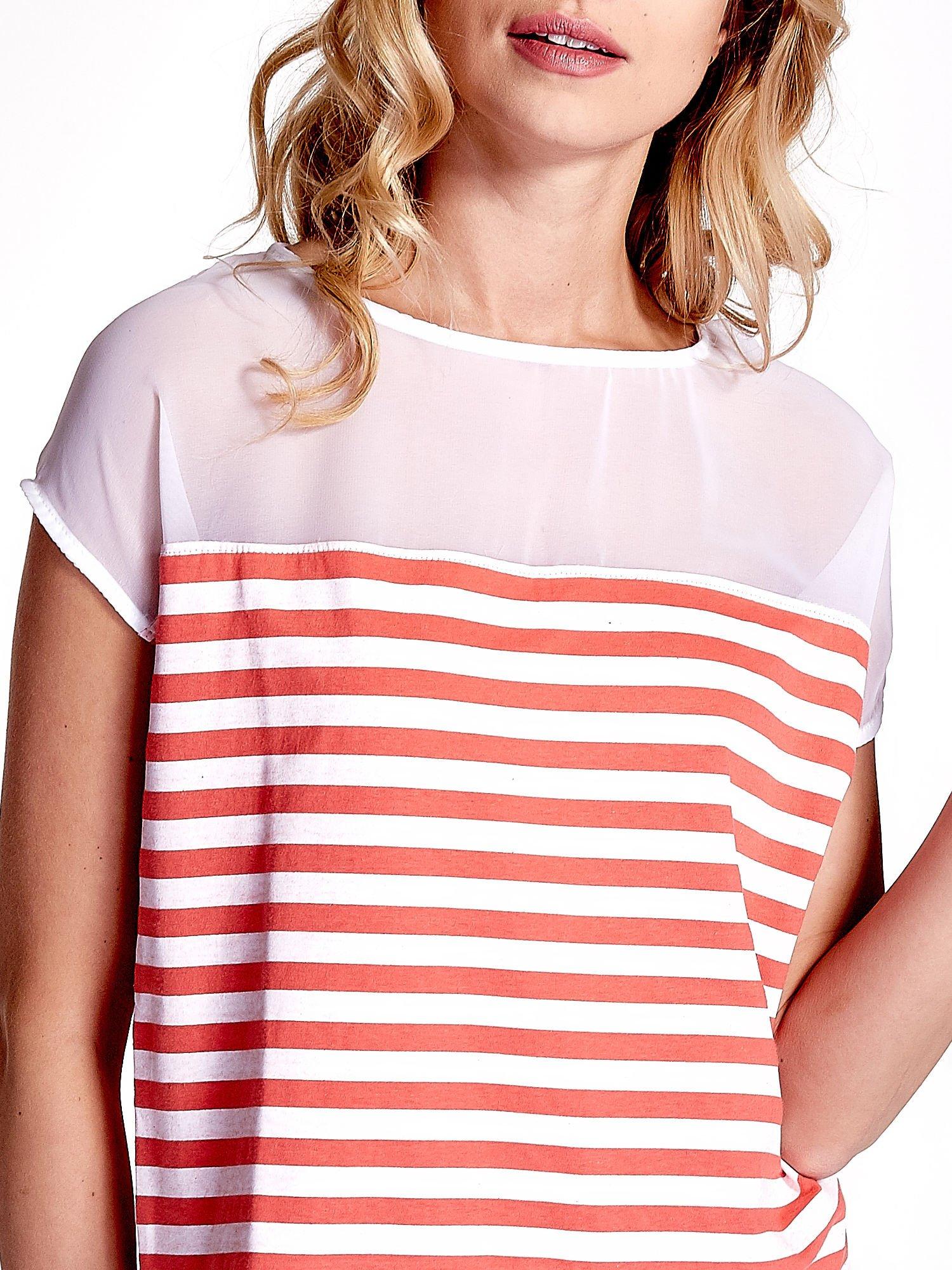 Biało-czerwony t-shirt z tiulowym wykończeniem                                  zdj.                                  5