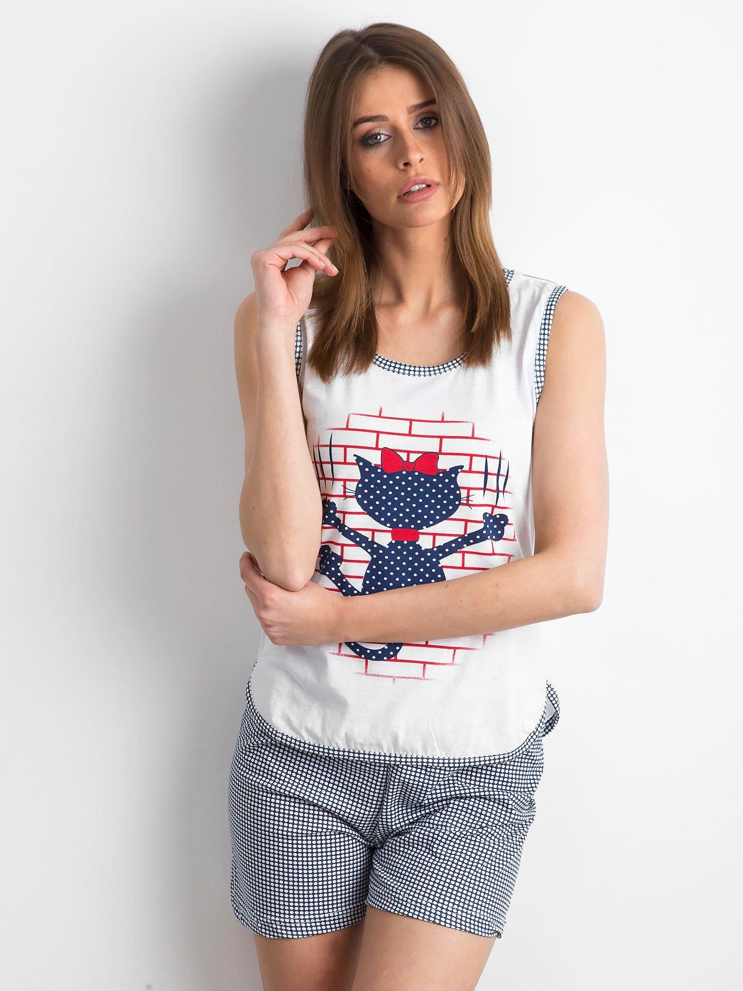e48cebb0eb391c Biało-granatowa krótka piżama damska - Bielizna piżama - sklep eButik.pl