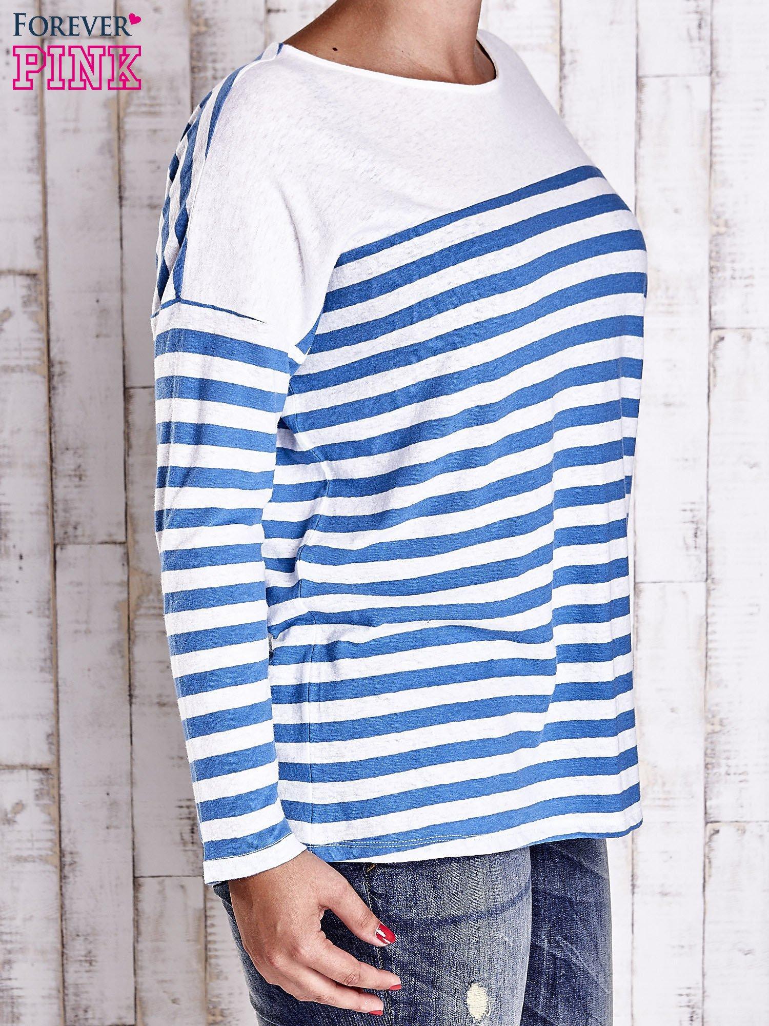Biało-niebieska bluzka w paski PLUS SIZE                                  zdj.                                  3