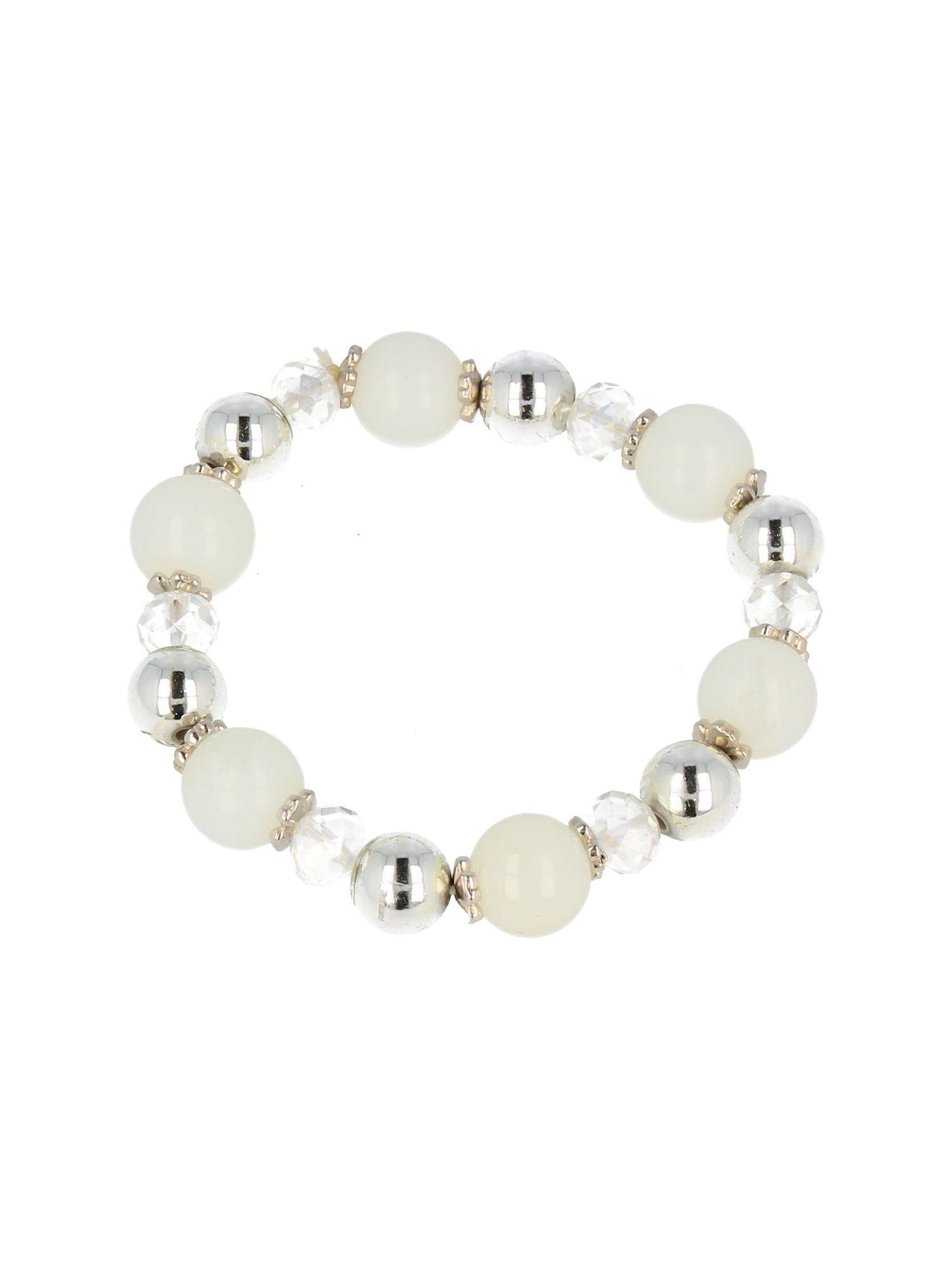 Biało - srebrna Bransoletka koralikowa                                  zdj.                                  2