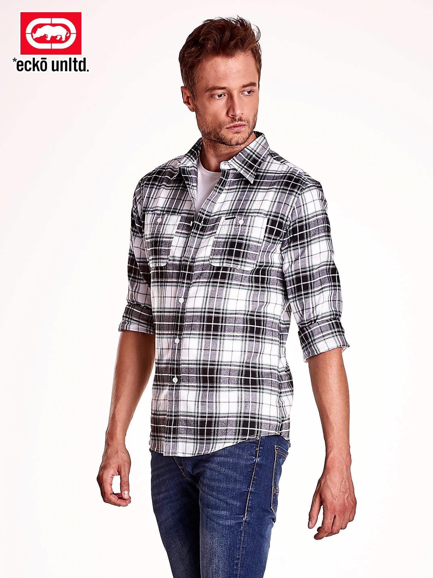 Biało-szara koszula męska motyw kratki                                  zdj.                                  4