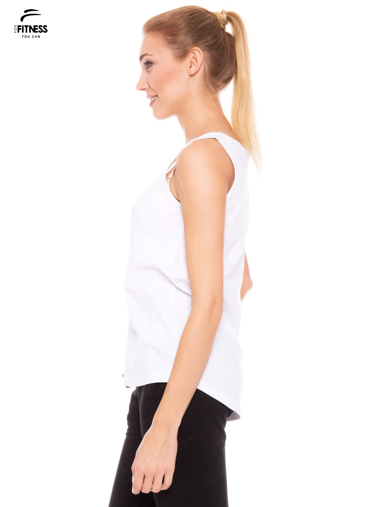 Biały bawełniany top z nadrukiem zdobionym dżetami                                  zdj.                                  2