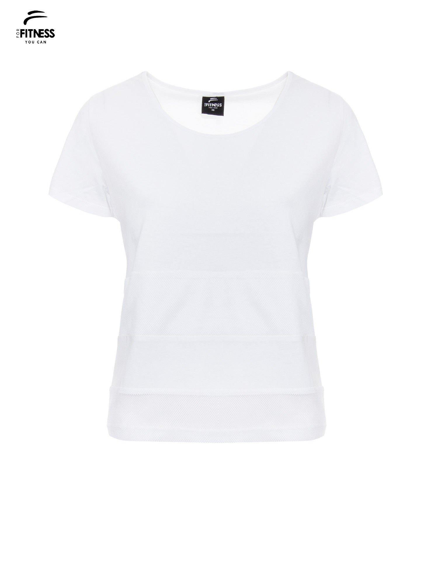 Biały gładki t-shirt z przeszyciami na dole                                  zdj.                                  2