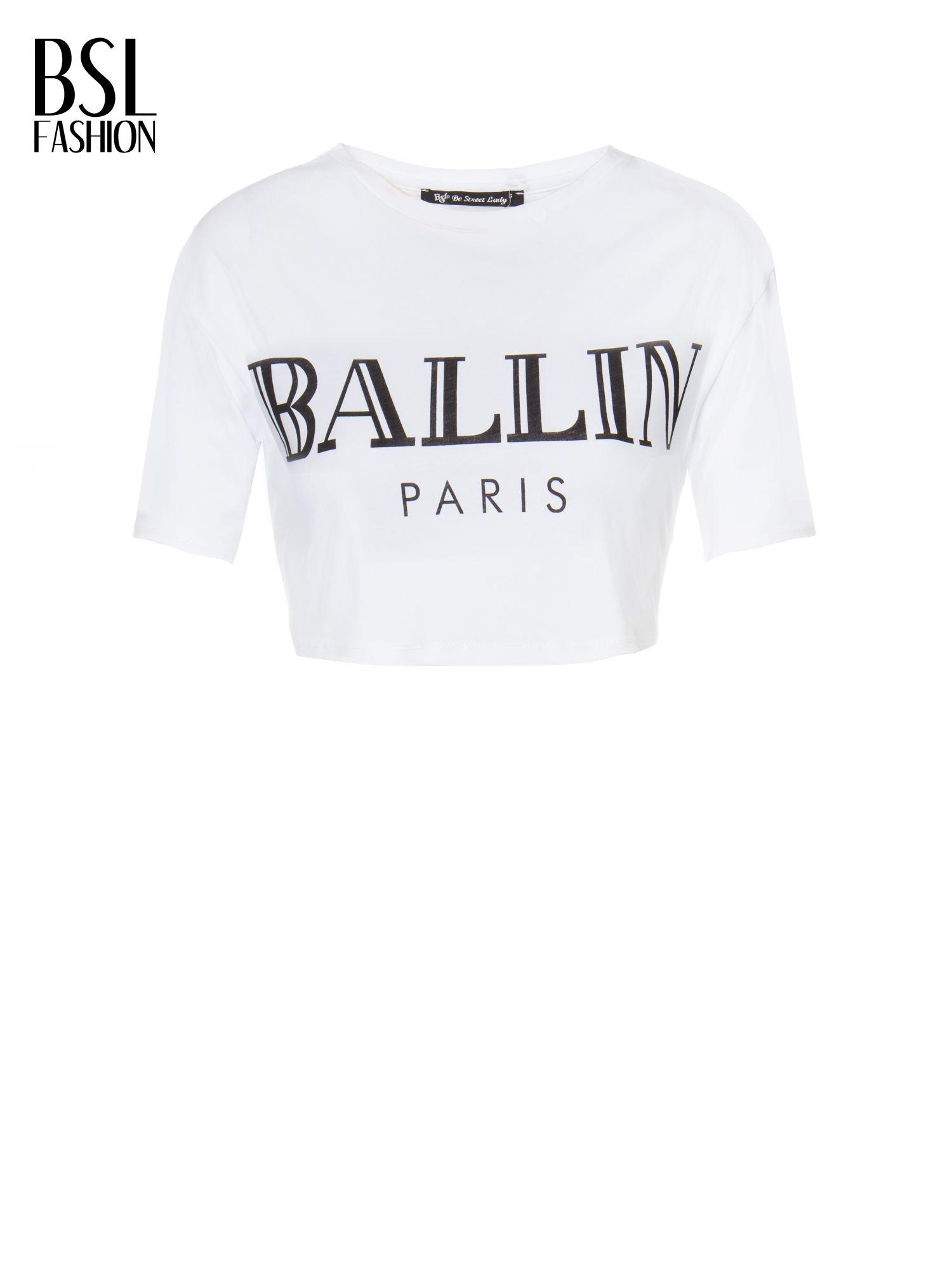 Biały krótki t-shirt przed pępek z napisem BALLIN PARIS                                  zdj.                                  2
