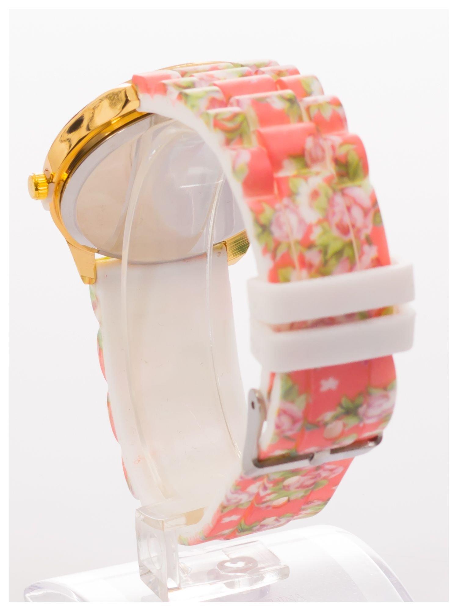 Biały kwiatowy zegarek damski ze złotą tarcżą                                  zdj.                                  4