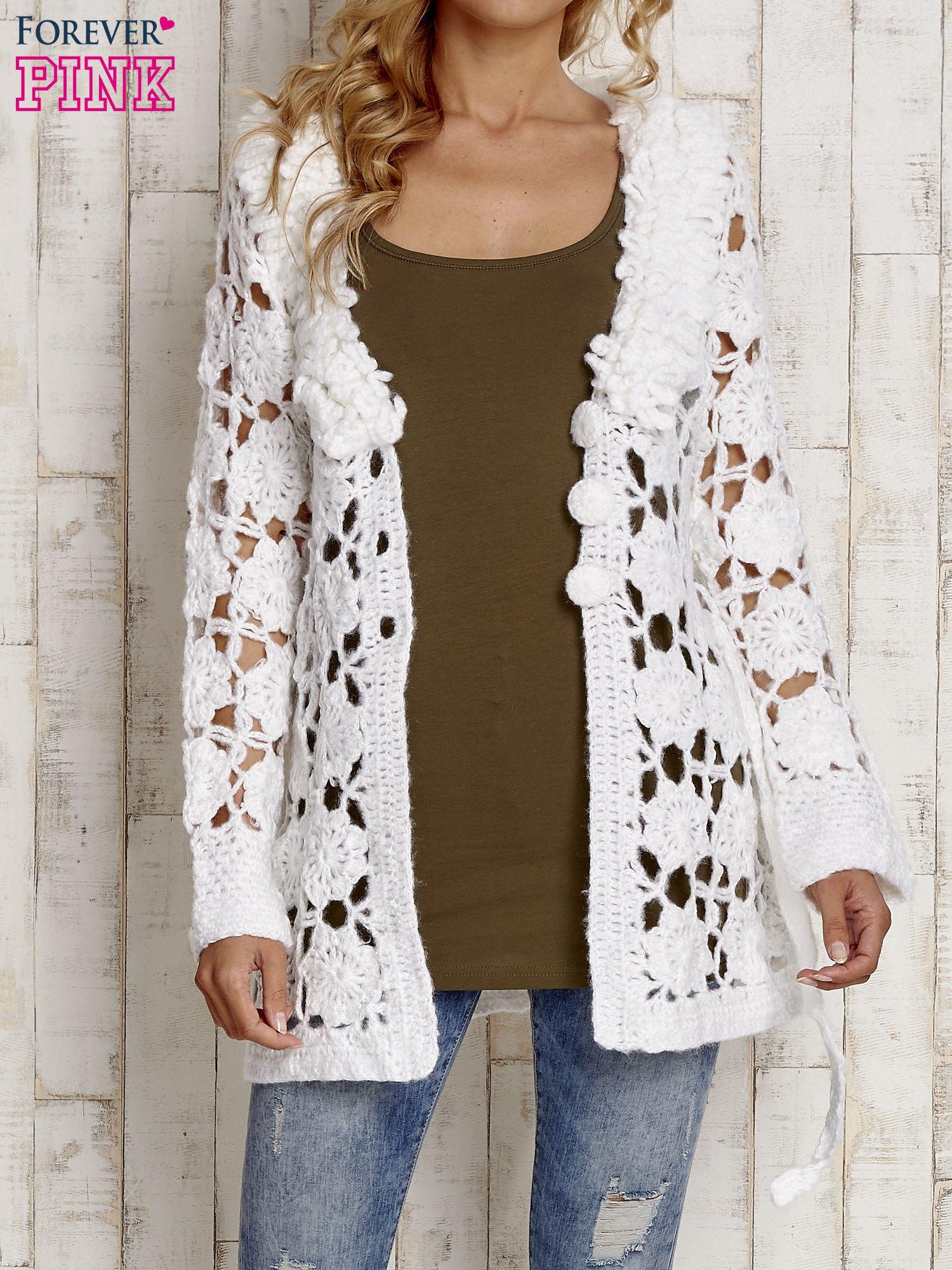 Biały sweter  z wiązaniem w pasie                                  zdj.                                  5