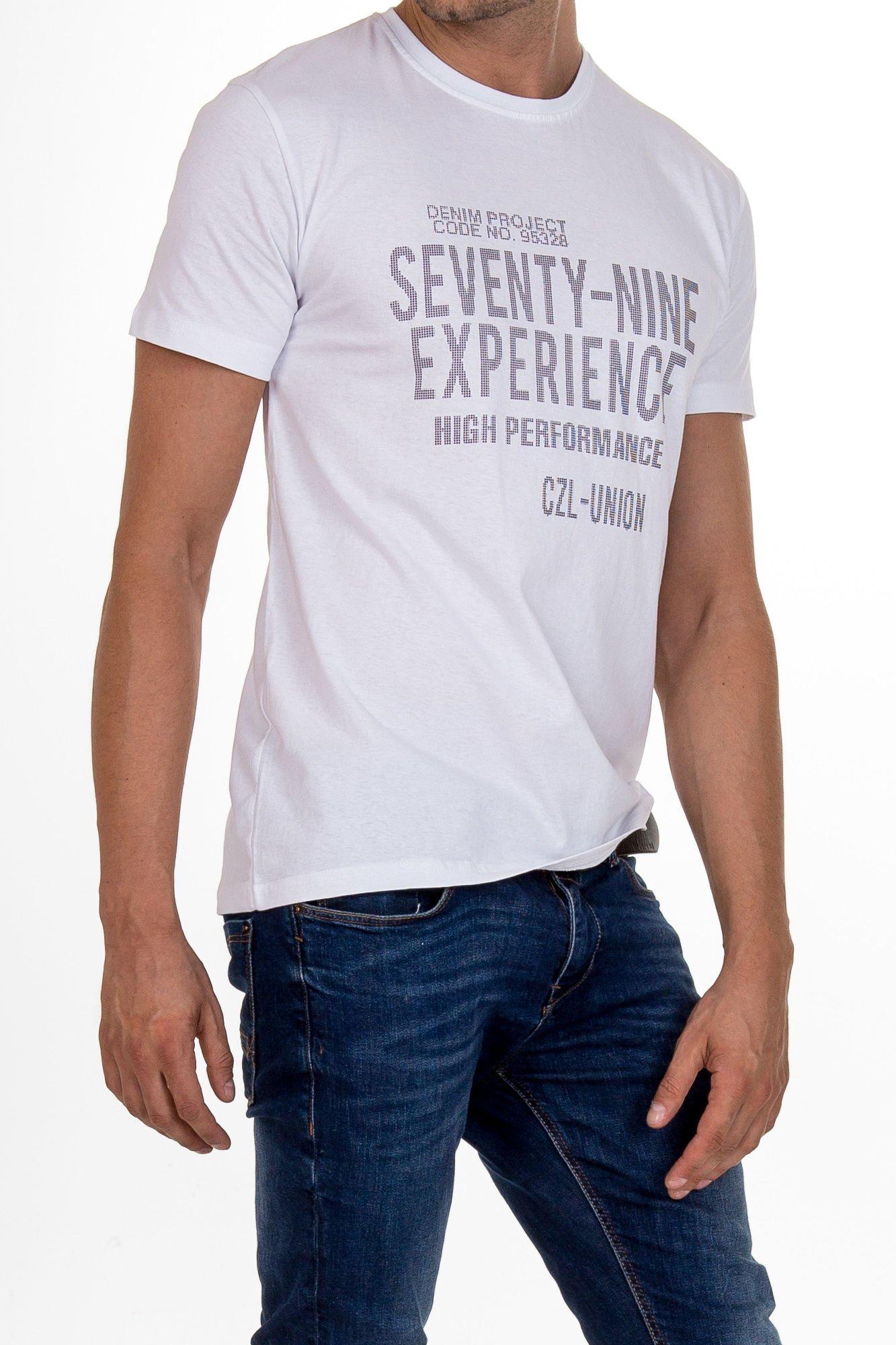 Biały t-shirt męski z nadrukiem napisów                                  zdj.                                  3