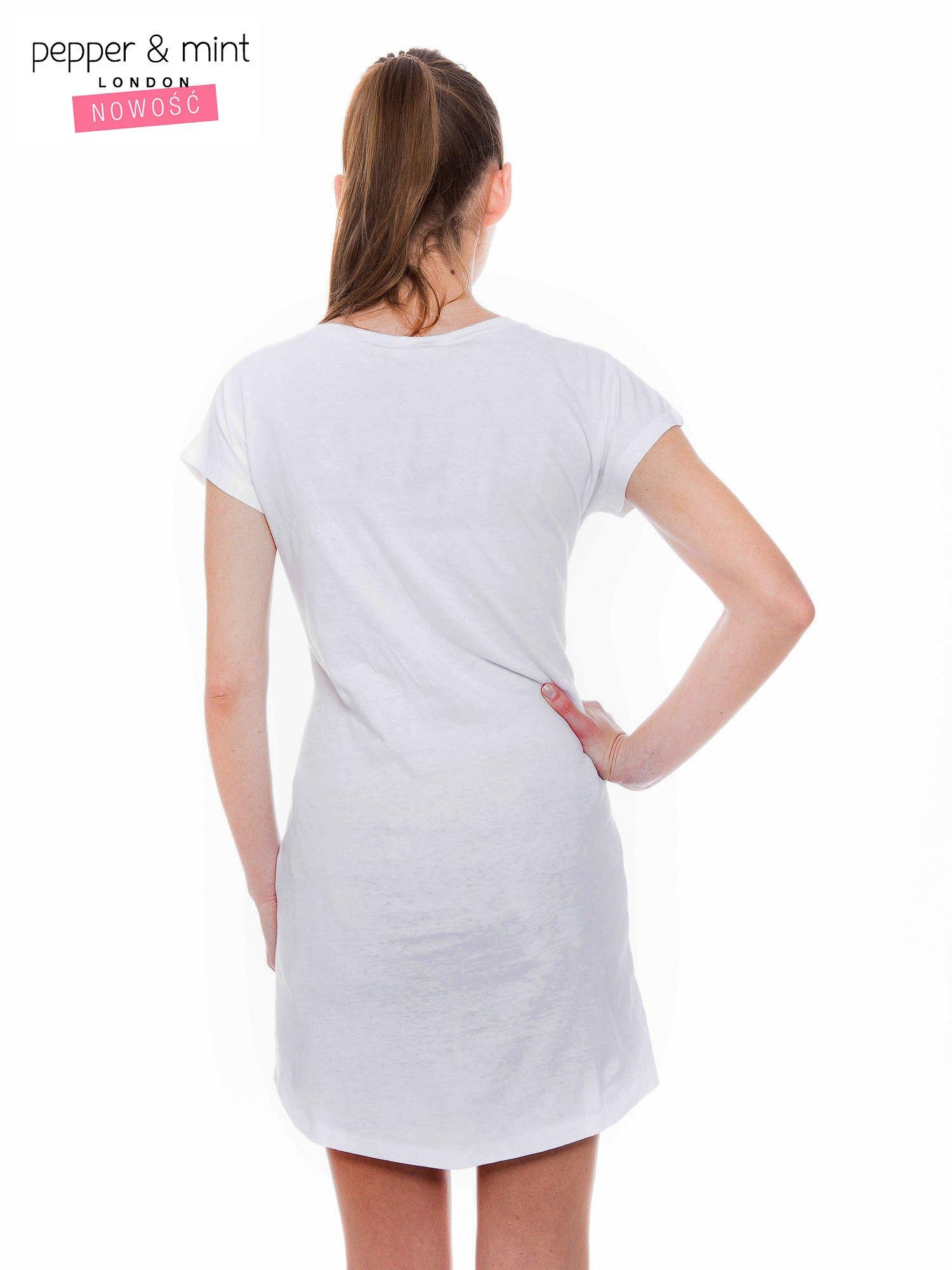 Biały t-shirt z dużym nadrukiem tekstowym FAMOUS                                  zdj.                                  3