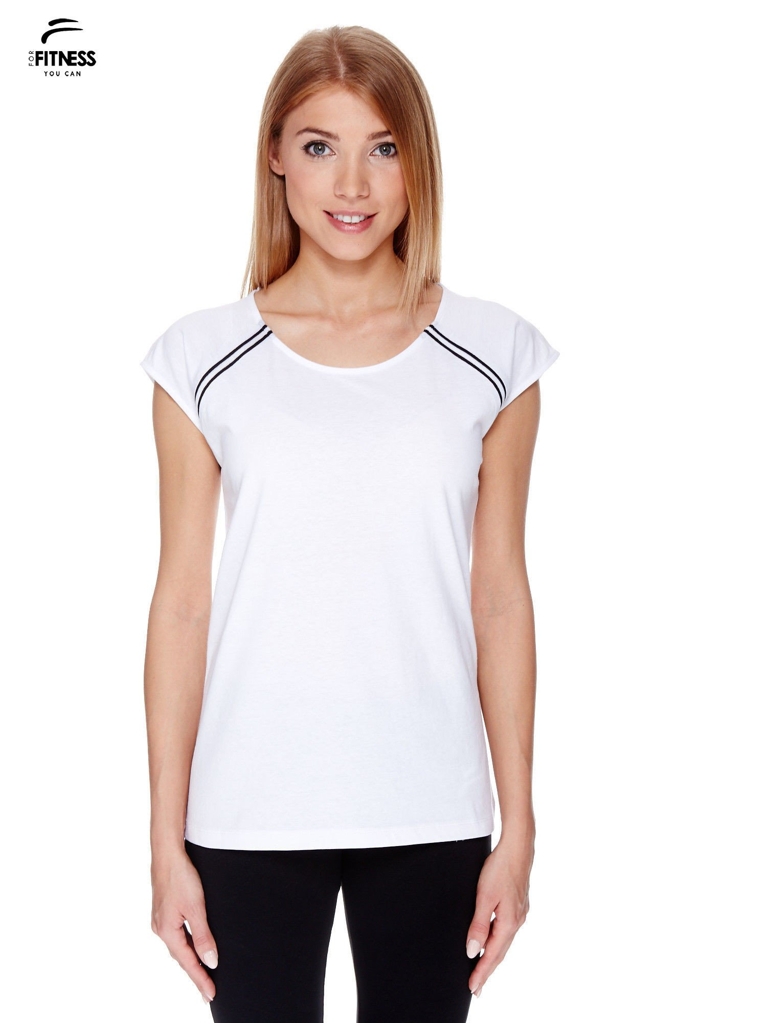 Biały t-shirt z kontrastowym przeszyciem przy rękawach                                  zdj.                                  1