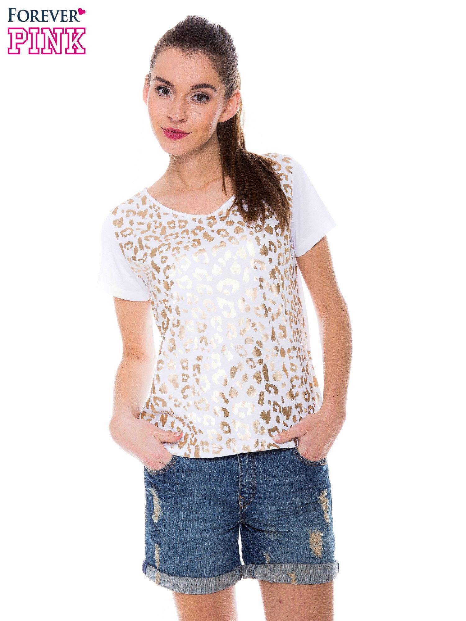 Biały t-shirt z metalicznym nadrukiem w cętki pantery                                  zdj.                                  1