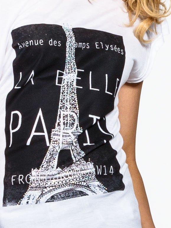 Biały t-shirt z motywem Paryża                                  zdj.                                  4