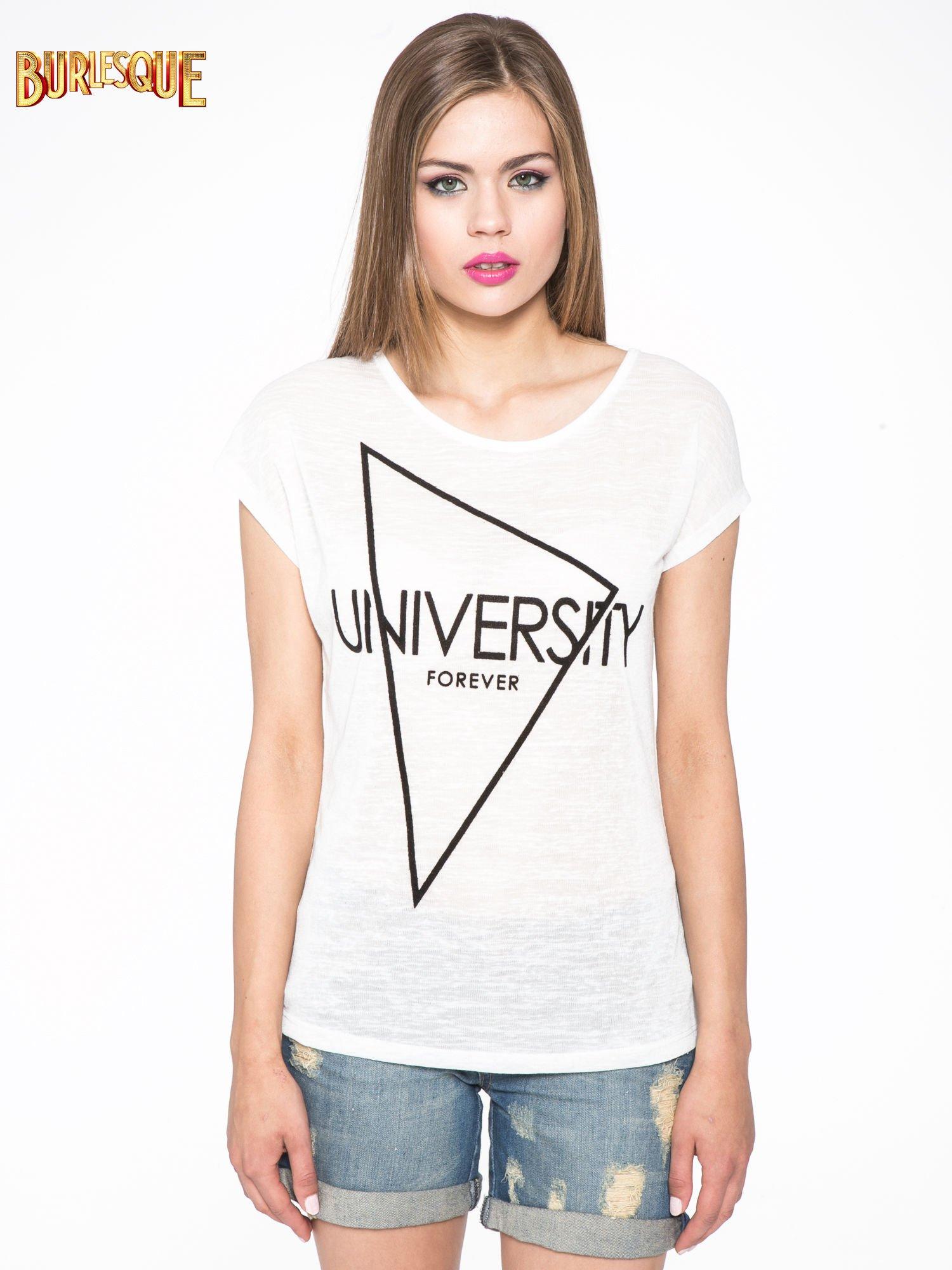 Biały t-shirt z nadrukiem UNIVERSITY FORVER                                  zdj.                                  9