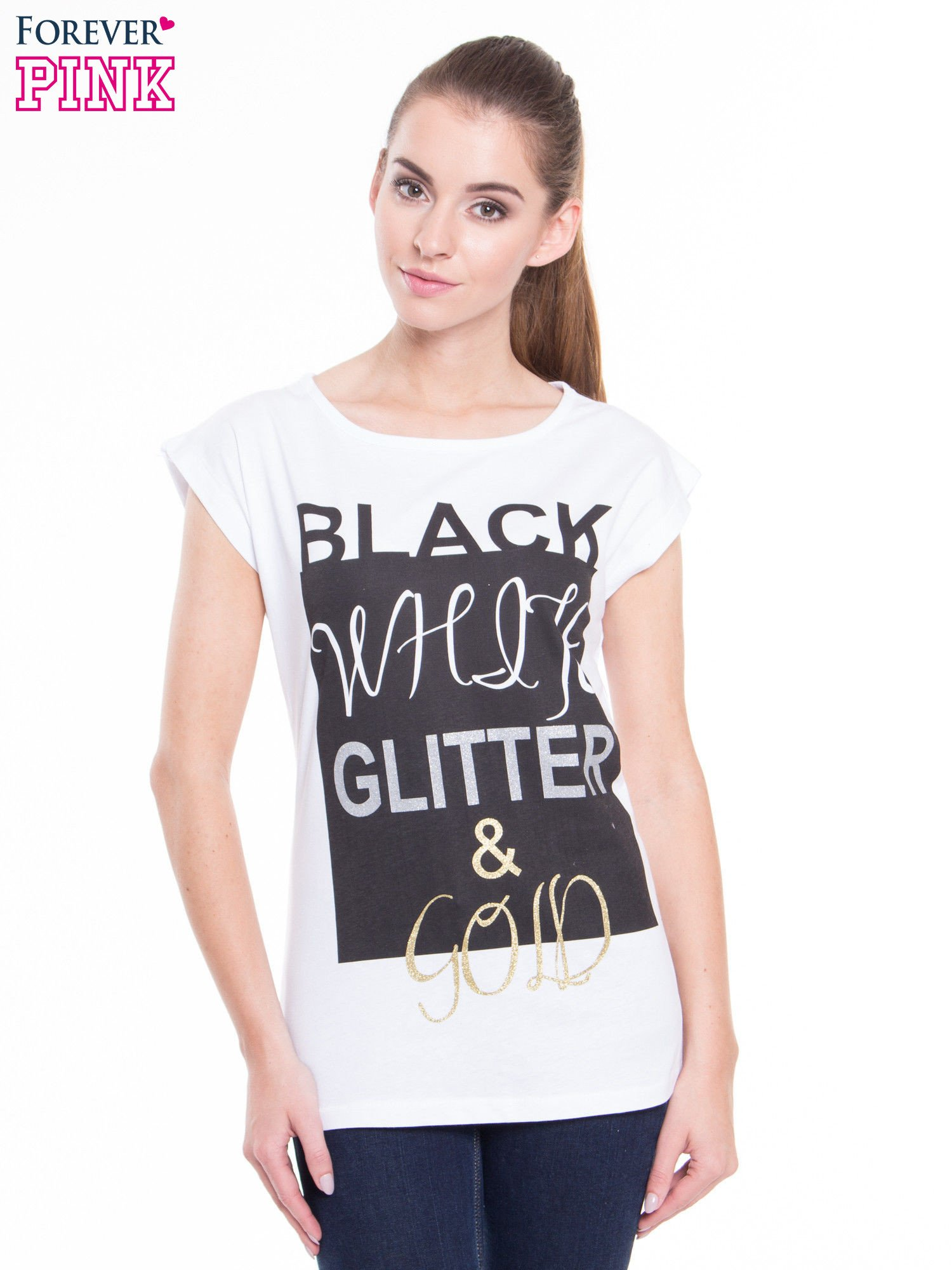 Biały t-shirt z nadrukiem tekstowym z efektem glitter                                  zdj.                                  1