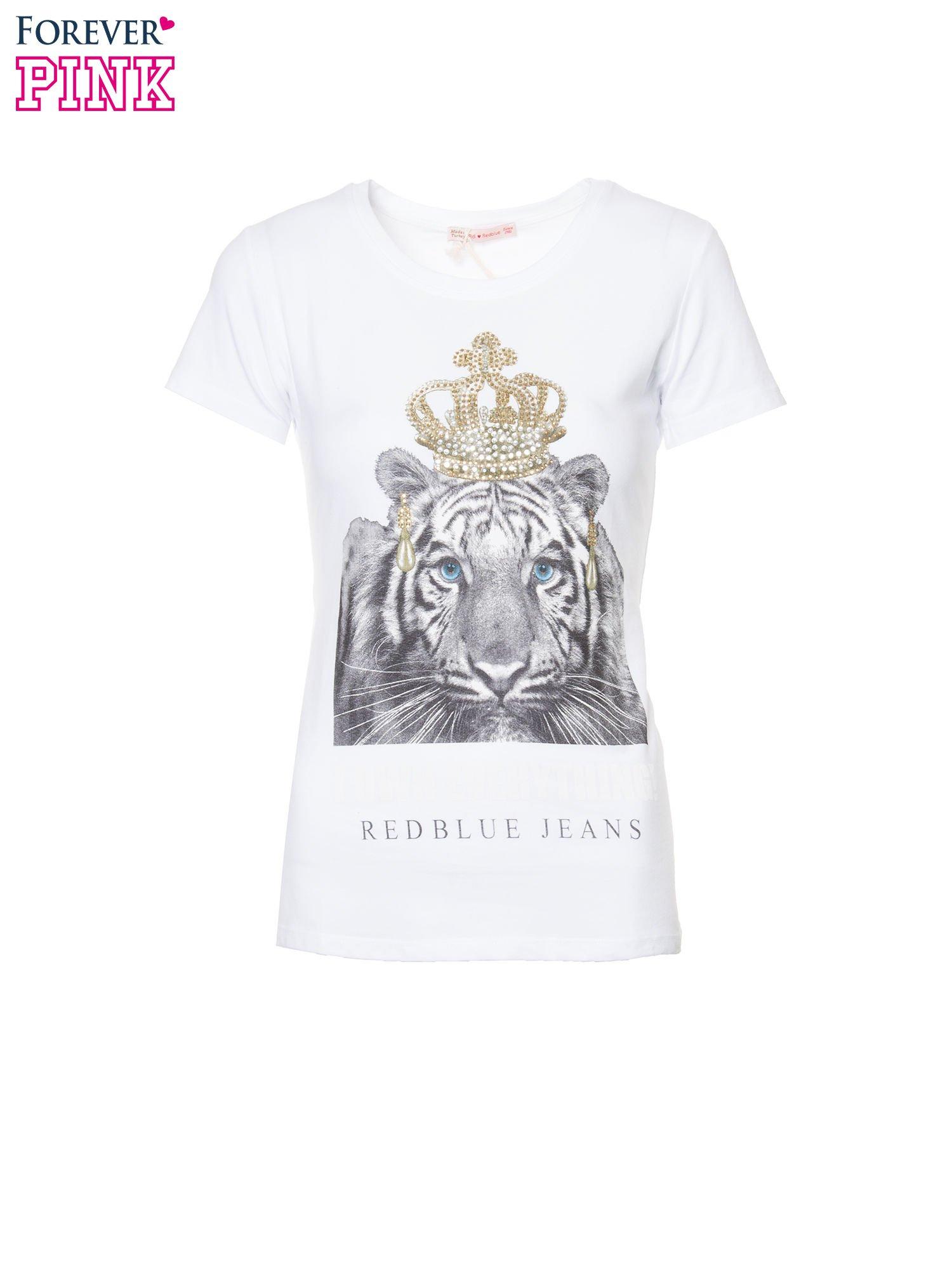 Biały t-shirt z nadrukiem tygrysa z koroną                                  zdj.                                  2