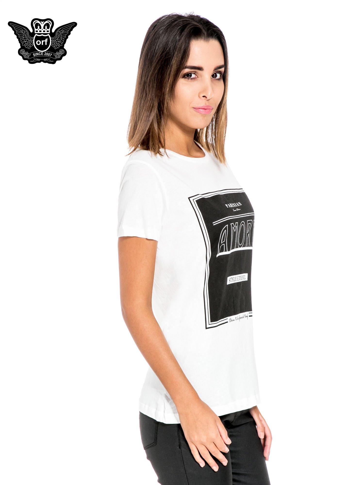 Biały t-shirt z napisem AMORE                                  zdj.                                  3