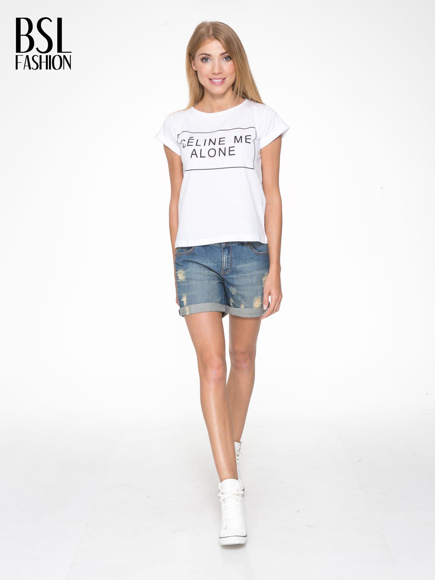 Biały t-shirt z napisem CÉLINE ME ALONE                                  zdj.                                  5