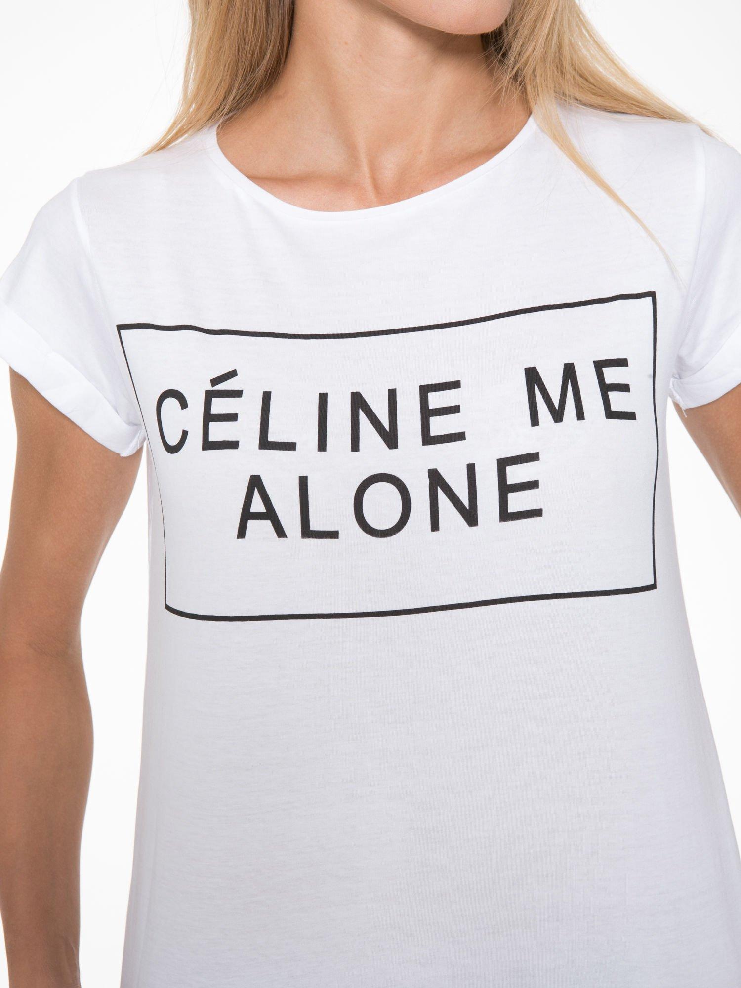 Biały t-shirt z napisem CÉLINE ME ALONE                                  zdj.                                  6