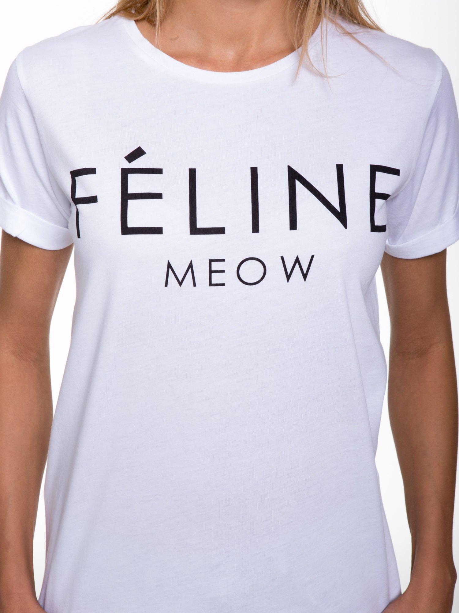 Biały t-shirt z napisem FÉLINE MEOW                                  zdj.                                  7