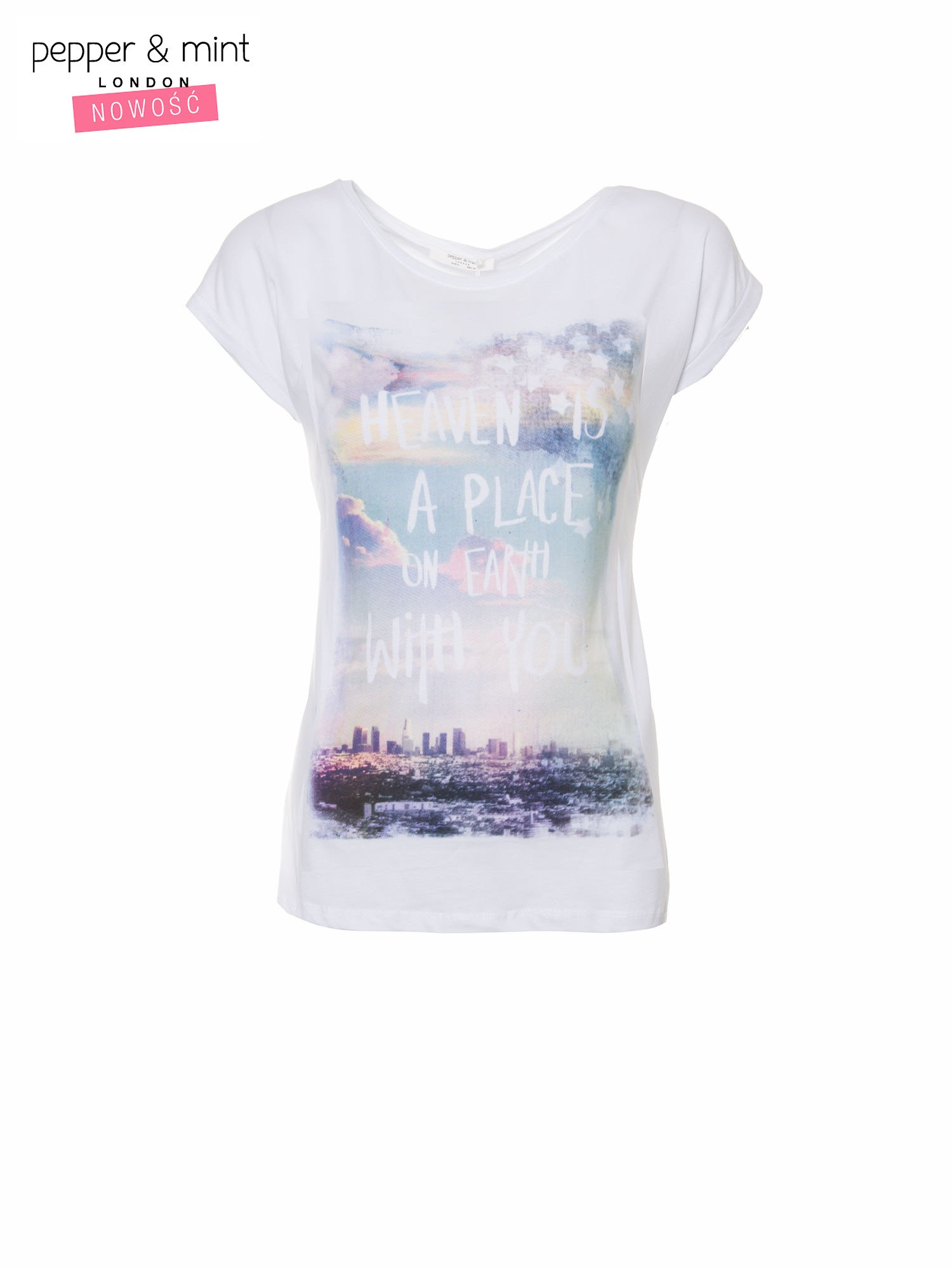 Biały t-shirt z napisem HEAVEN IS A PLACE ON EARTH WITH YOU                                  zdj.                                  2
