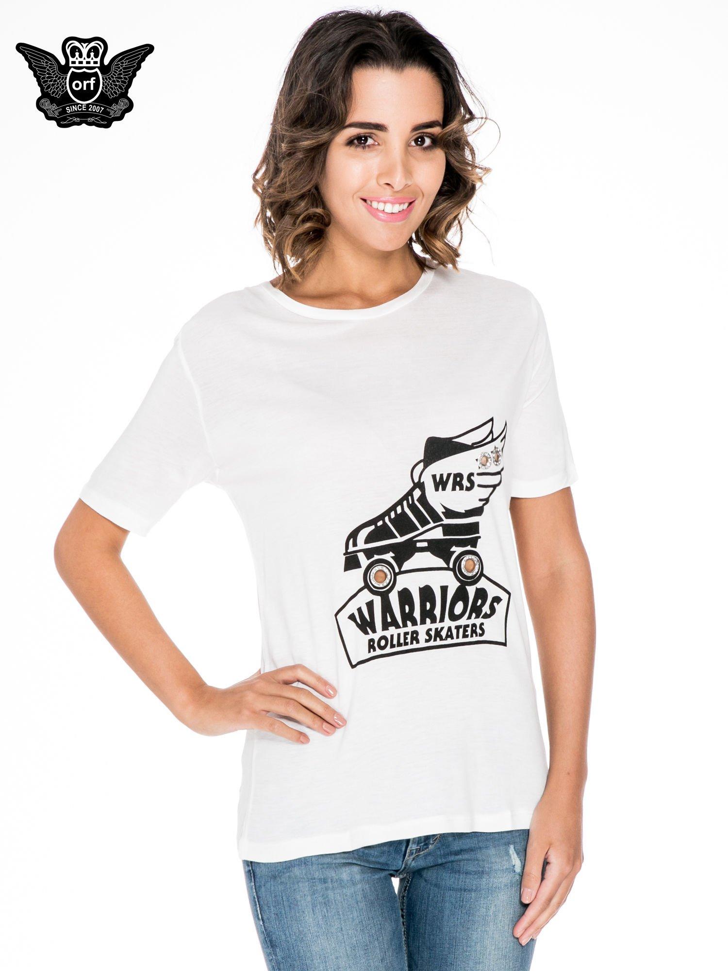 Biały t-shirt z napisem WARRIORS ROLLER SKATERS                                  zdj.                                  1
