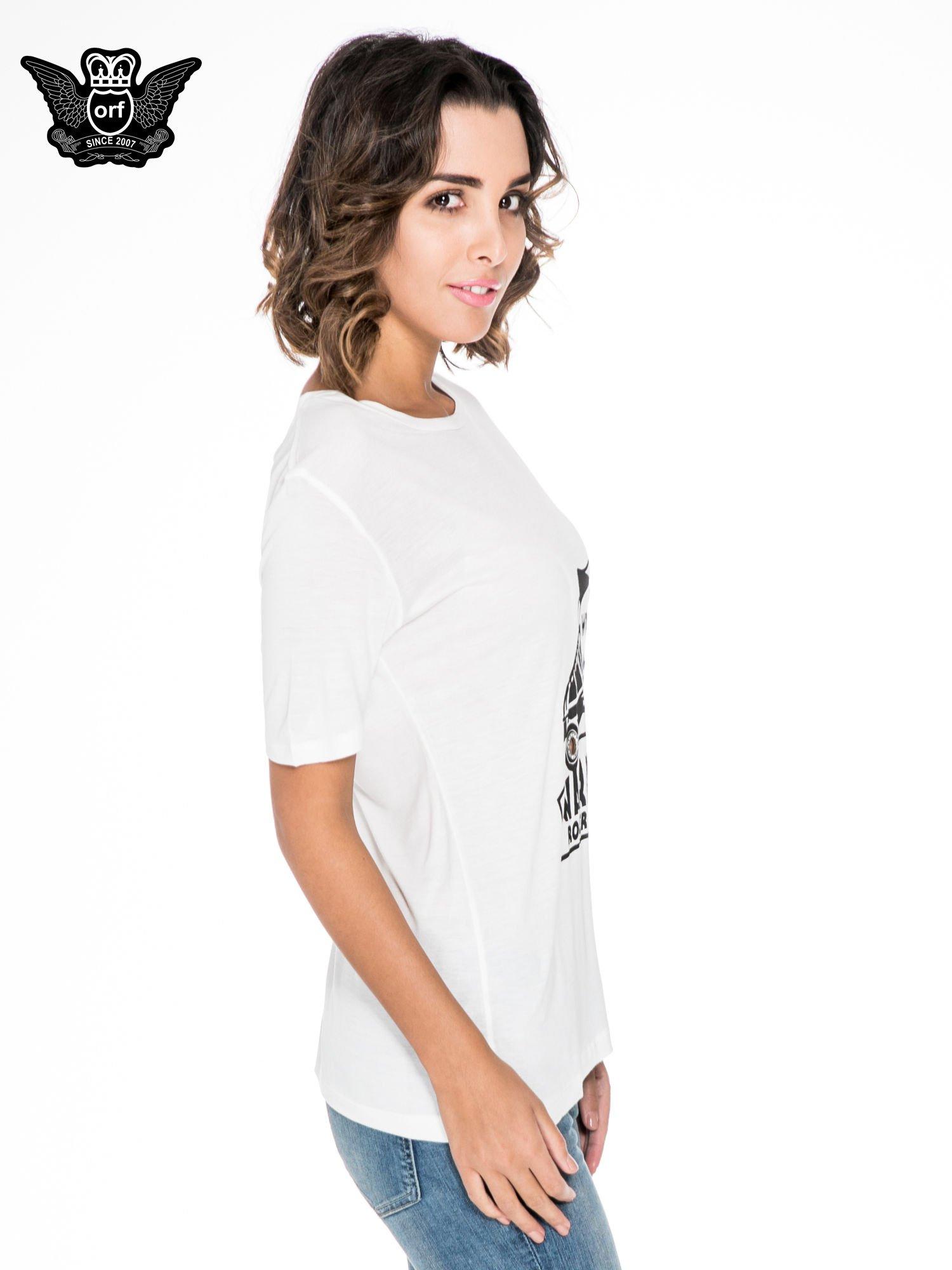 Biały t-shirt z napisem WARRIORS ROLLER SKATERS                                  zdj.                                  3