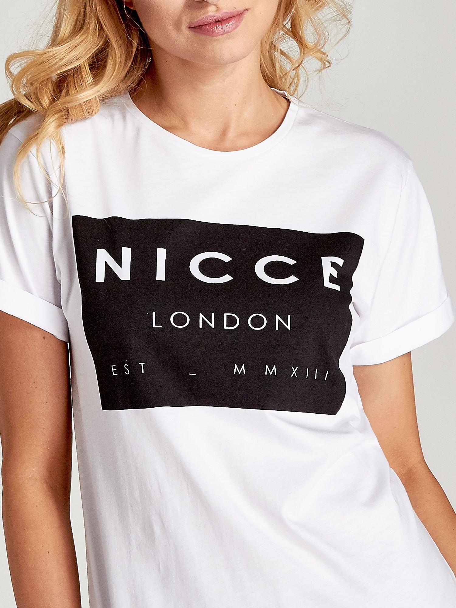 Biały t-shirt z napisem w minimalistycznym stylu NICCE LONDON                                  zdj.                                  5
