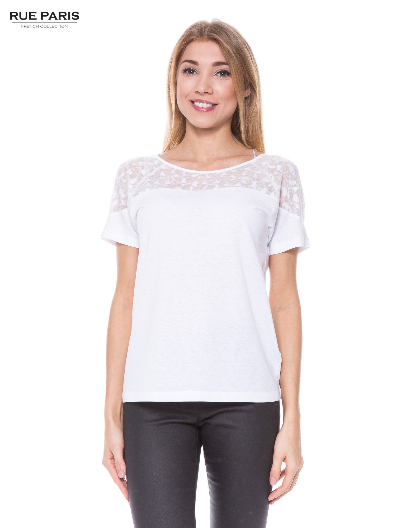 Biały t-shirt z transparentną górą w kokardki                                  zdj.                                  1