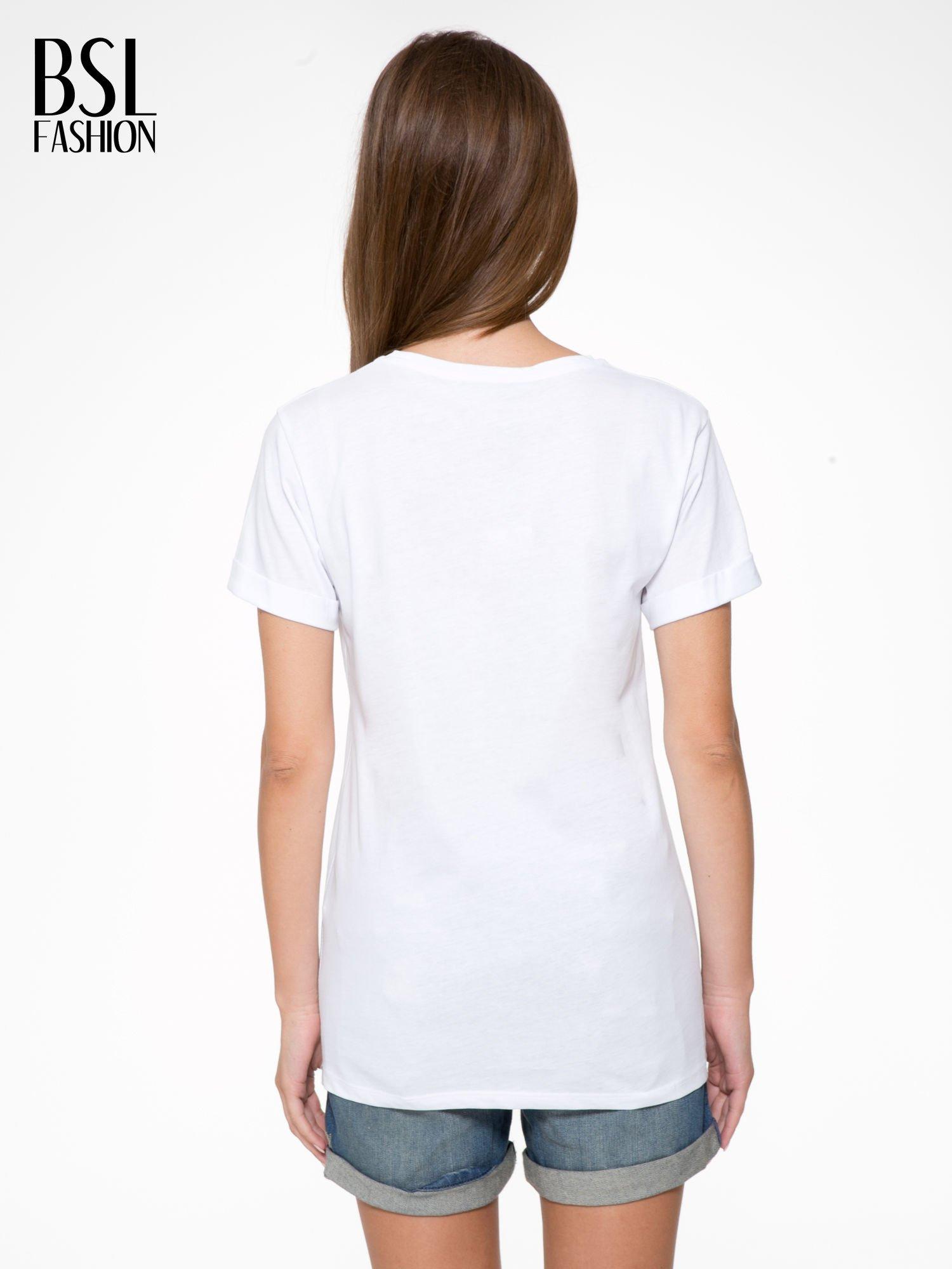 Biały t-shirt ze złotym napisem HOMIES SOUTH CENTRAL                                  zdj.                                  4