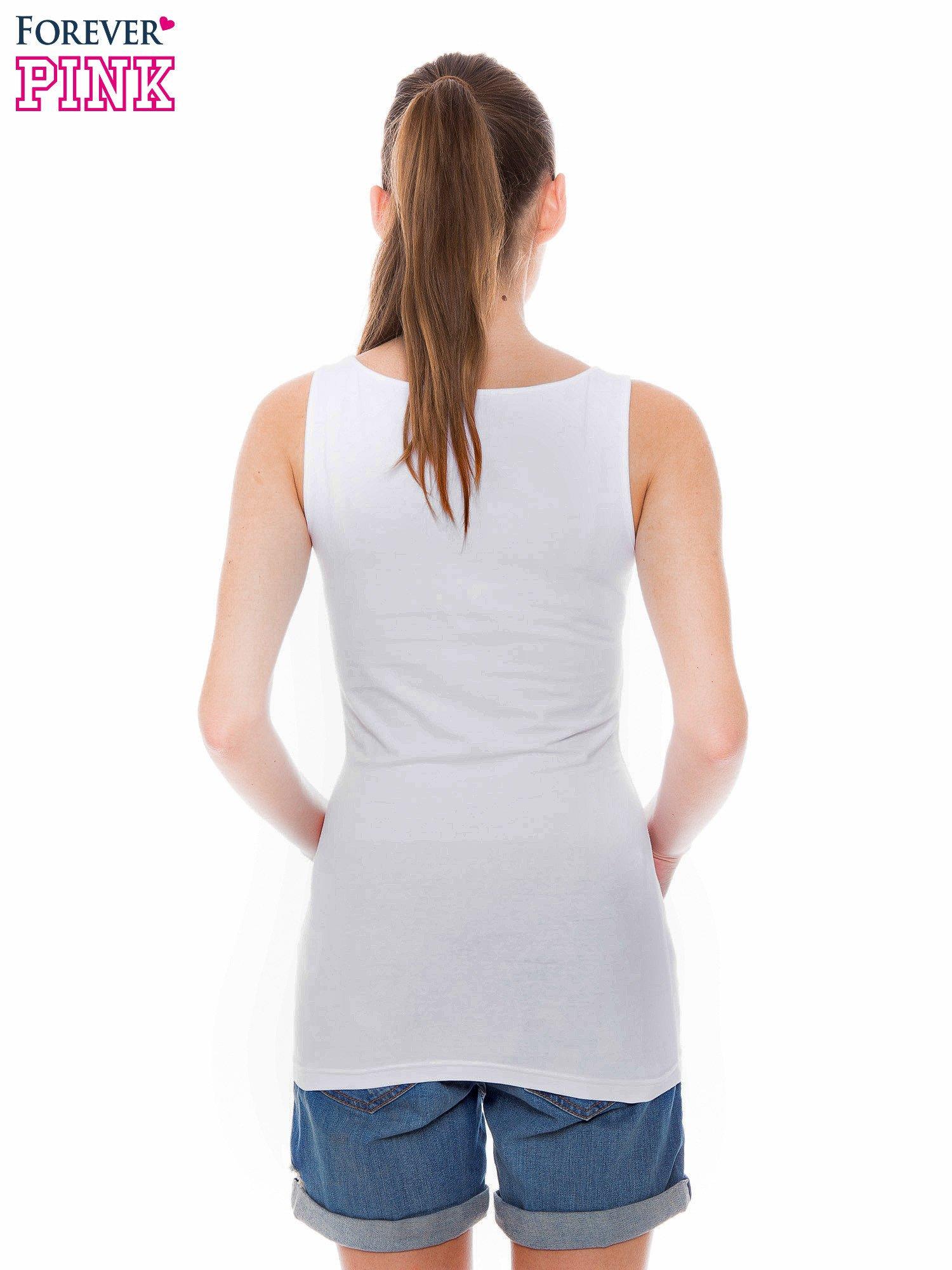Biały top na szerokich ramiączkach                                  zdj.                                  3