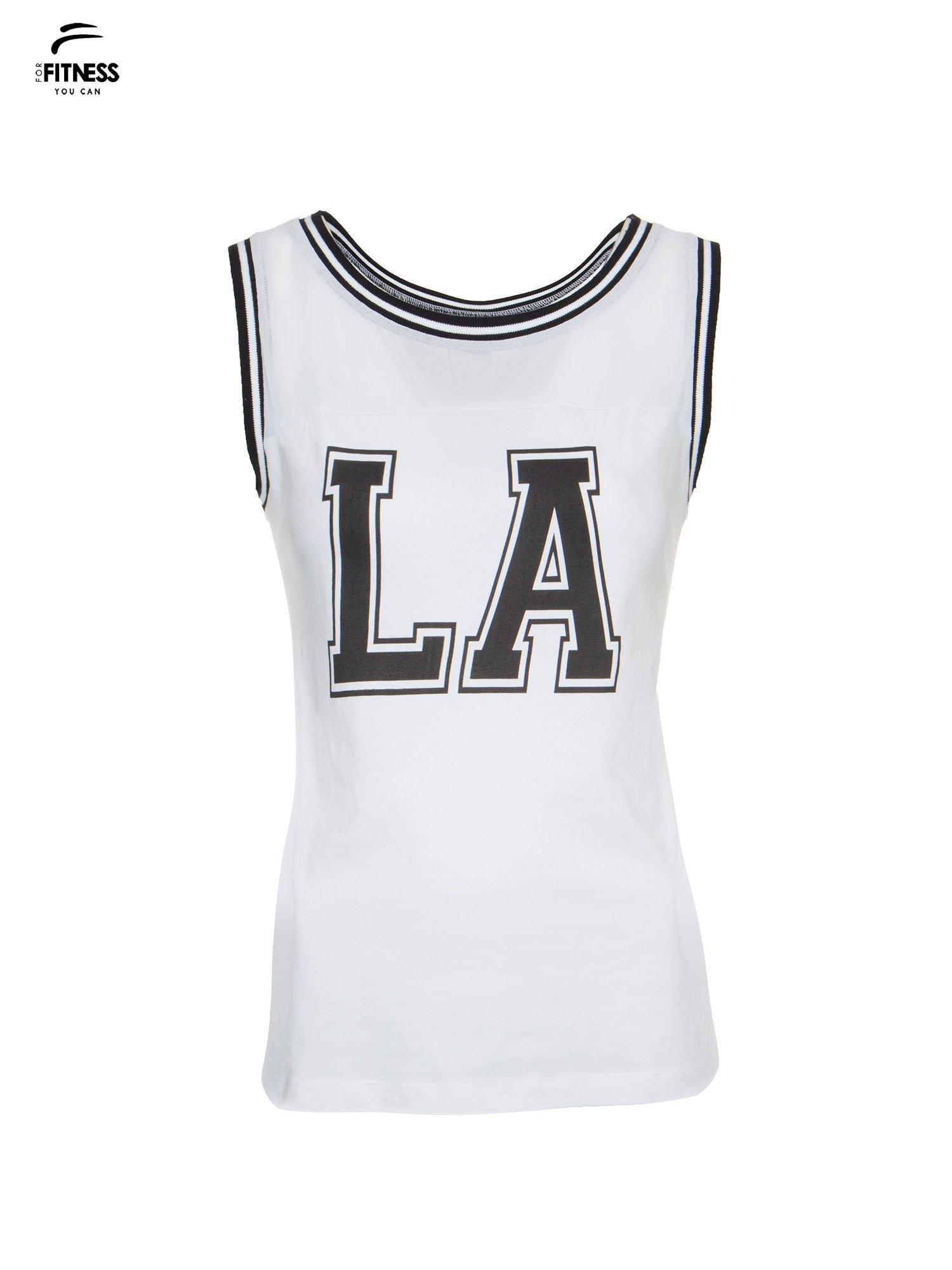 Biały top w stylu koszykarskim z nadrukiem LOS ANGELES i sportową lamówką                                  zdj.                                  2