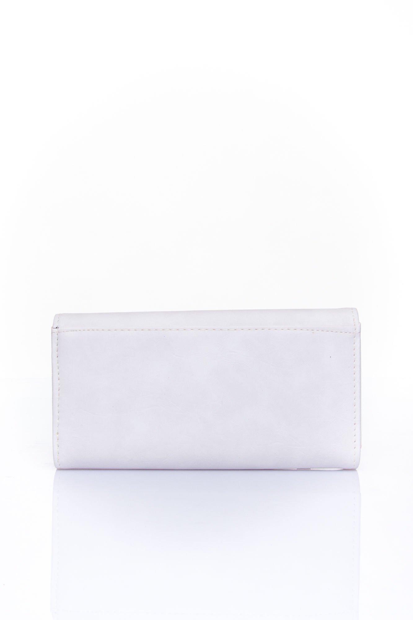 Biały zamszowy portfel z geometrycznym motywem                                  zdj.                                  2