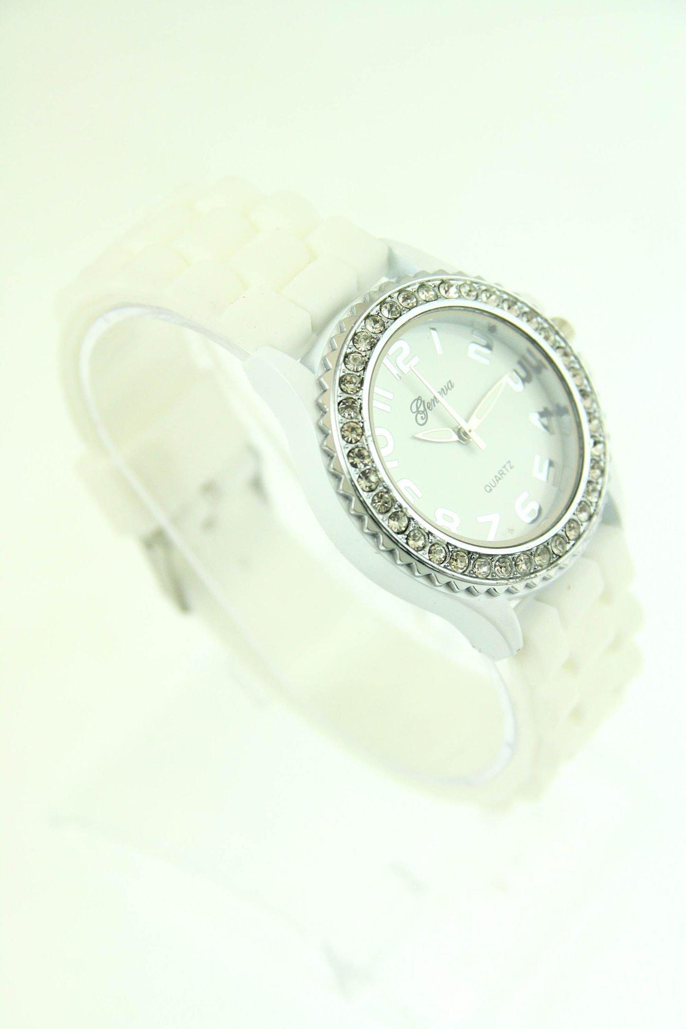 Biały zegarek damski na silikonowym pasku                                  zdj.                                  2