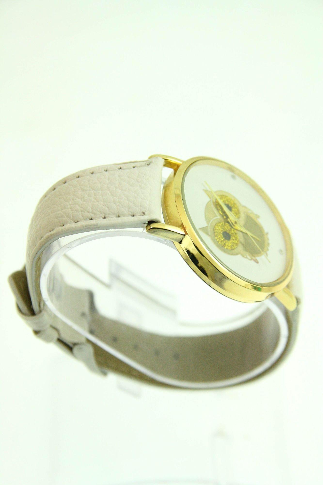Biały zegarek damski z sową na skórzanym pasku                                  zdj.                                  2