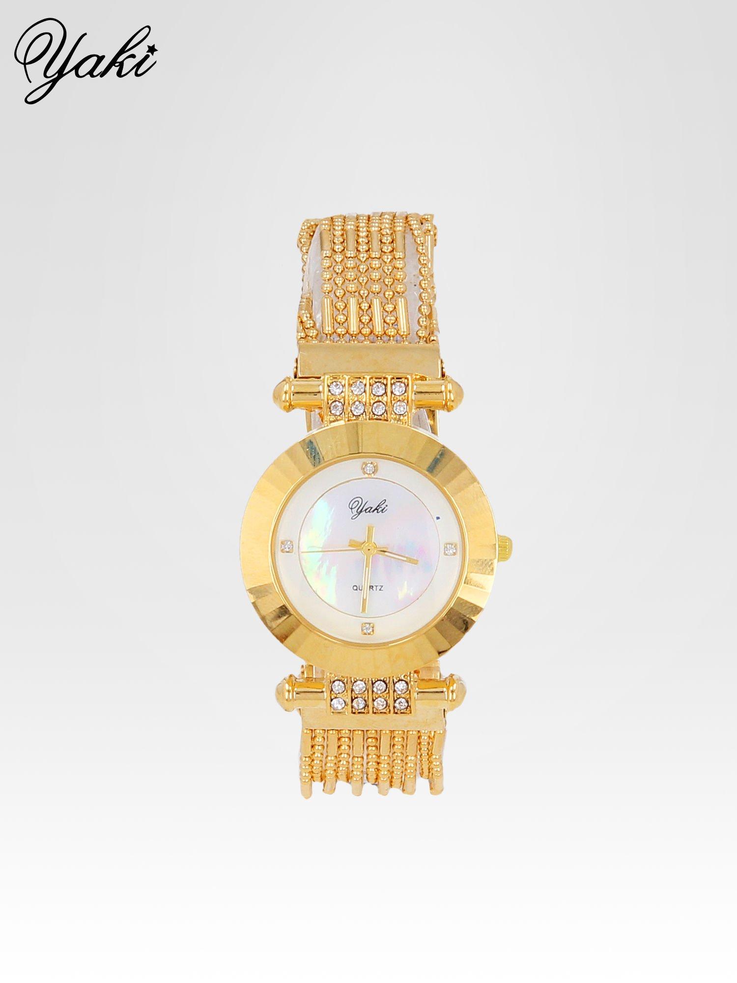 Biżuteryjny złoty zegarek damski z białą tarczą                                  zdj.                                  1