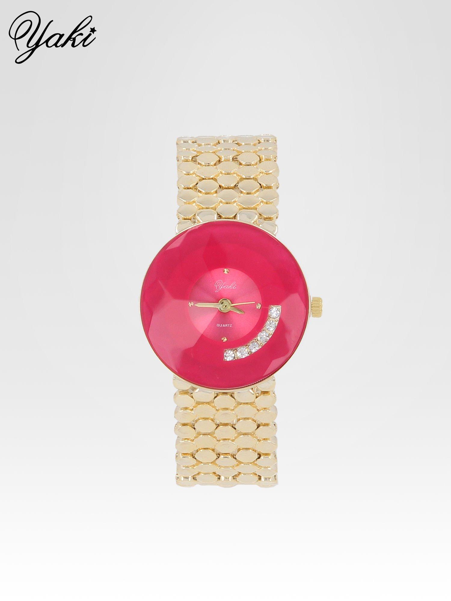 Biżuteryjny złoty zegarek damski z różową tarczą z cyrkoniami                                  zdj.                                  1
