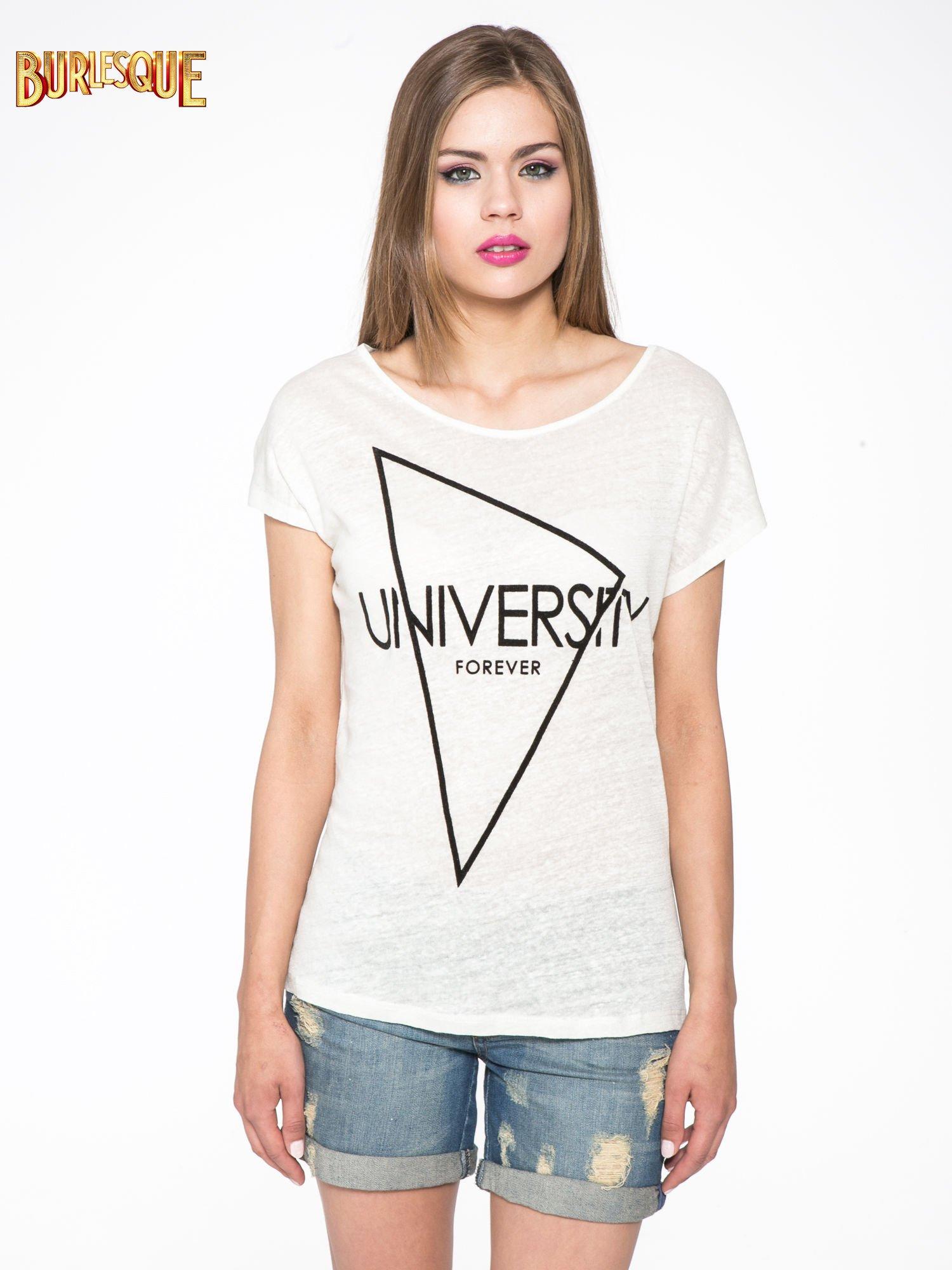 Blady ecru t-shirt z nadrukiem UNIVERSITY FORVER                                  zdj.                                  11